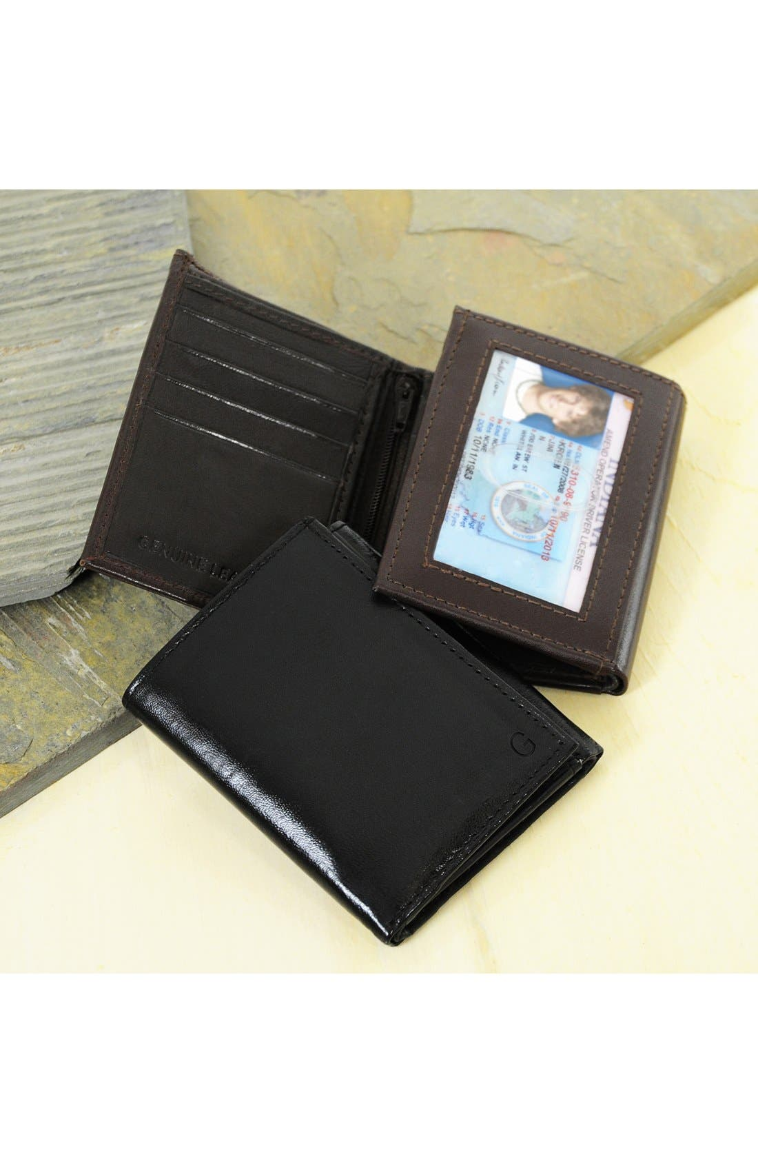 'Oxford' Monogram Leather Trifold Wallet,                             Main thumbnail 1, color,                             BROWN - BLANK