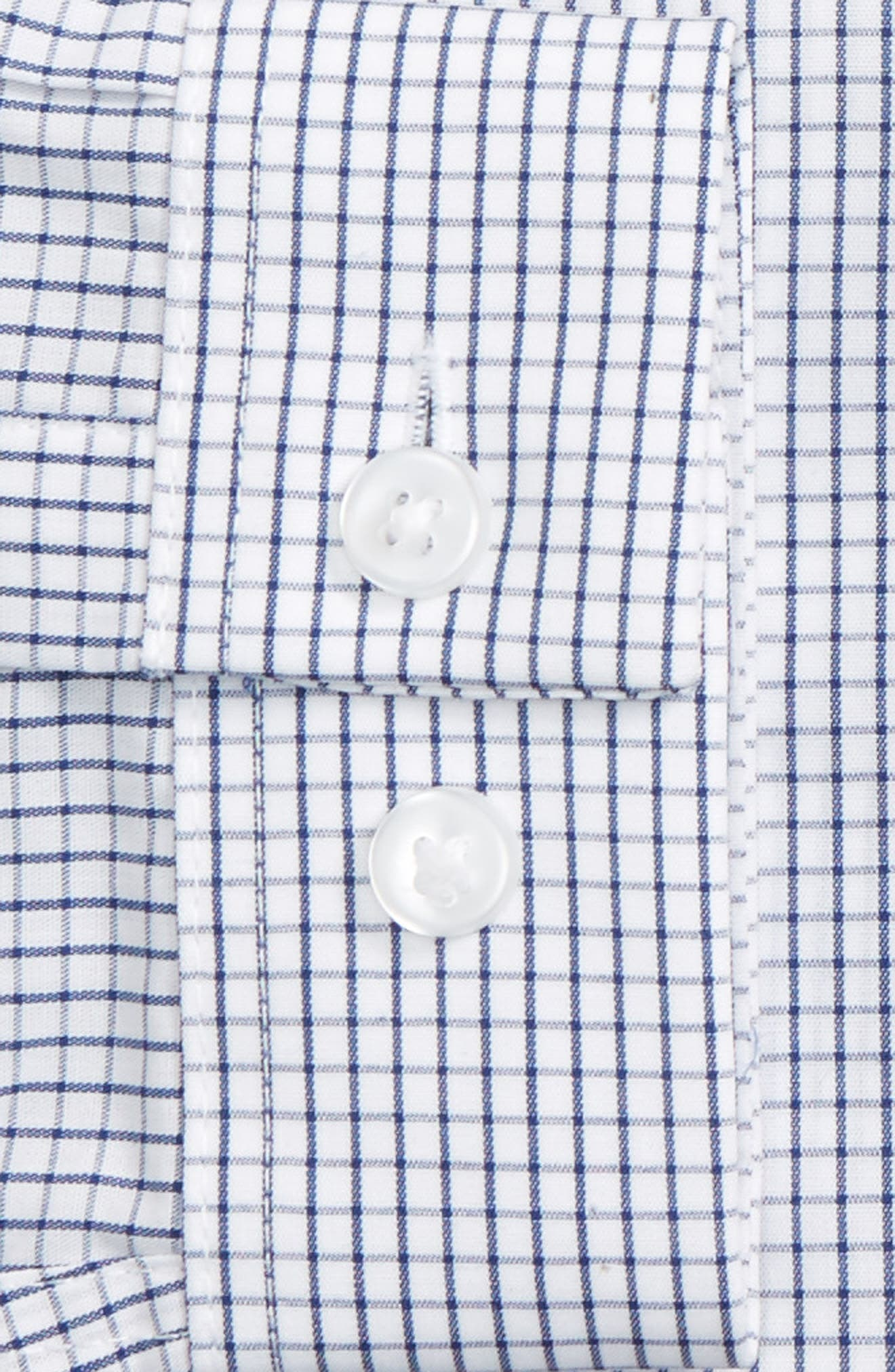 Slim Fit Grid Check Dress Shirt,                             Alternate thumbnail 4, color,                             102