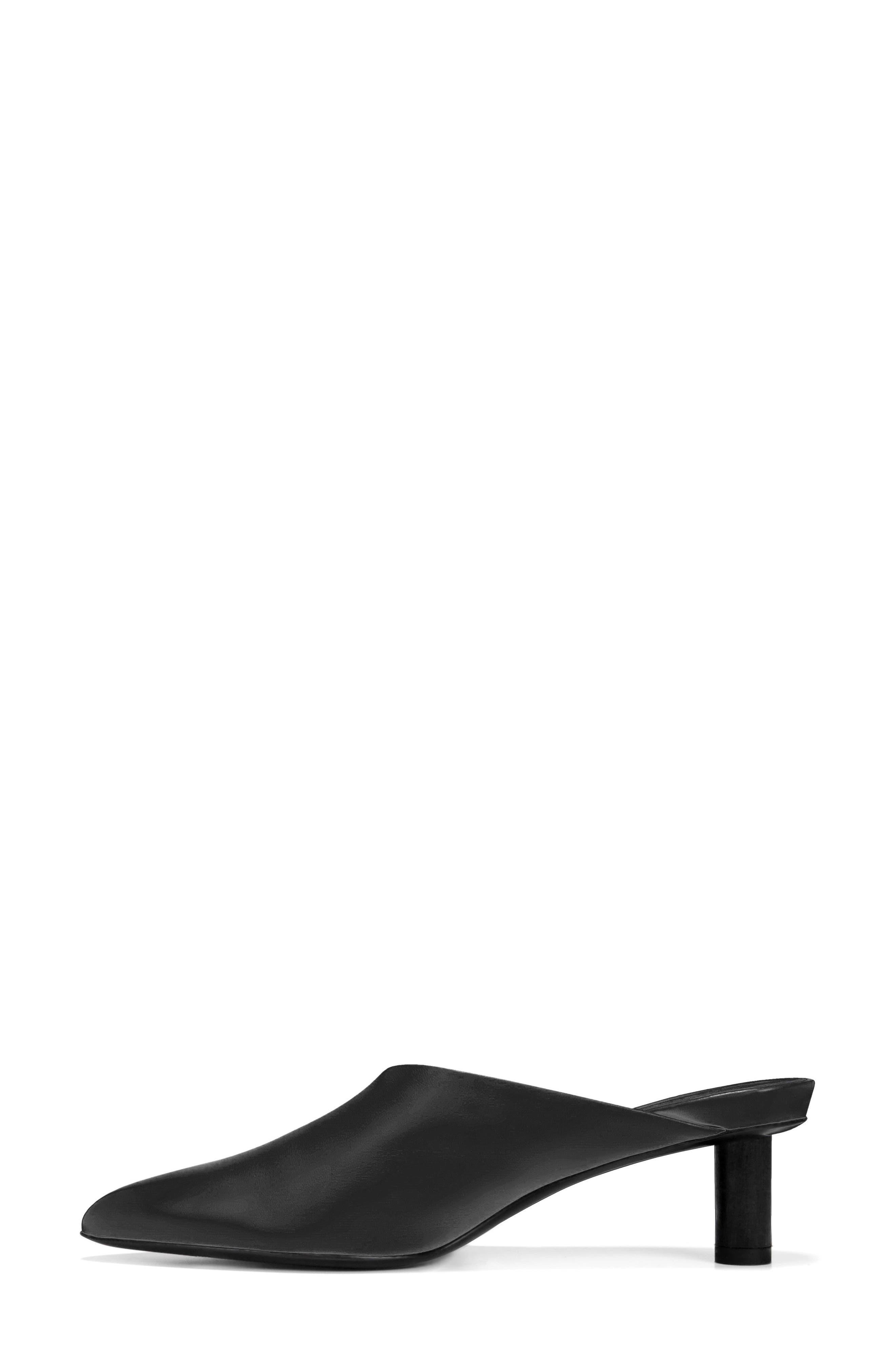 Freya Asymmetrical Mule,                             Alternate thumbnail 6, color,                             BLACK LEATHER