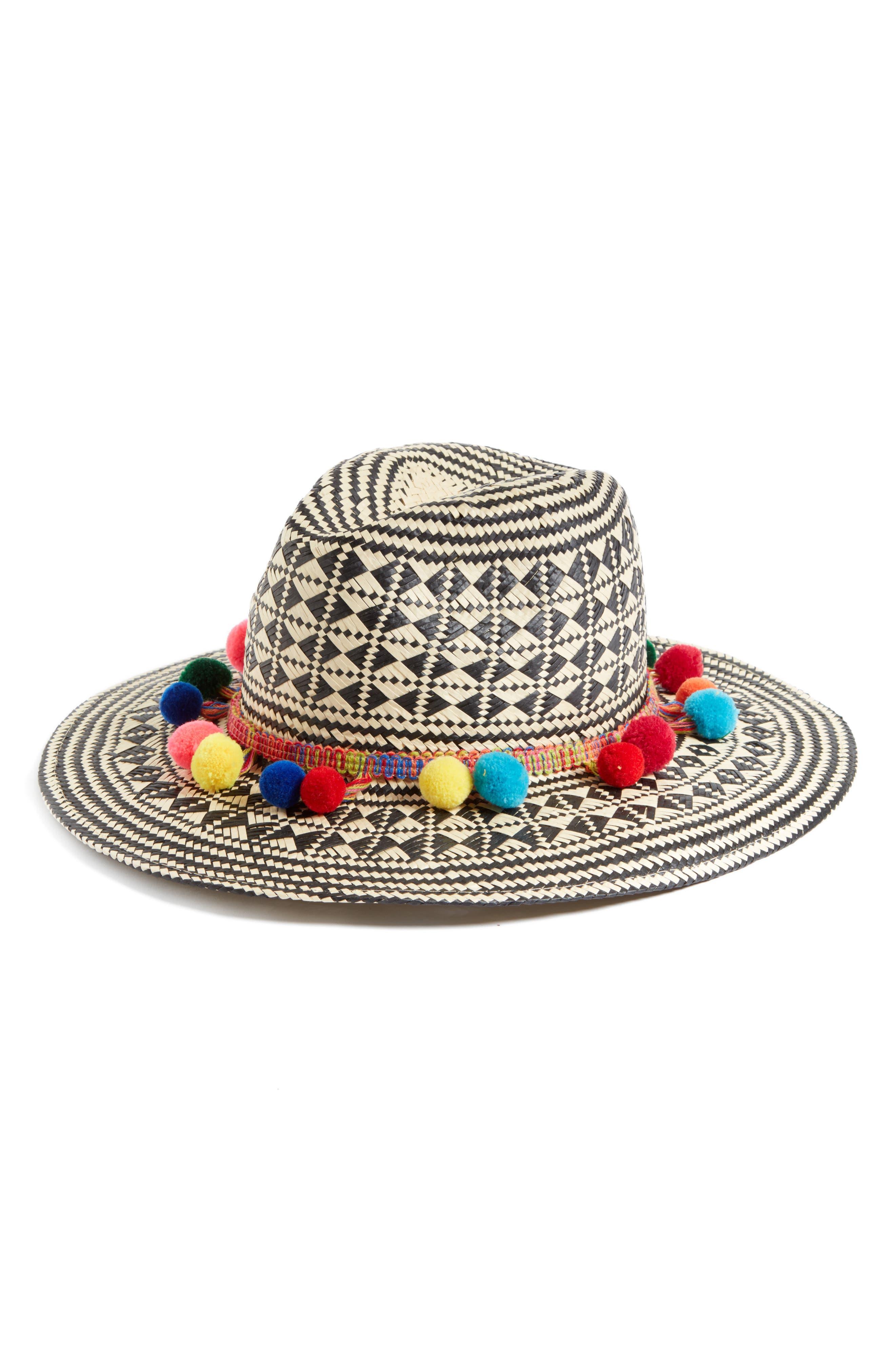 Phuket Pompom Safari Hat,                             Main thumbnail 1, color,                             001