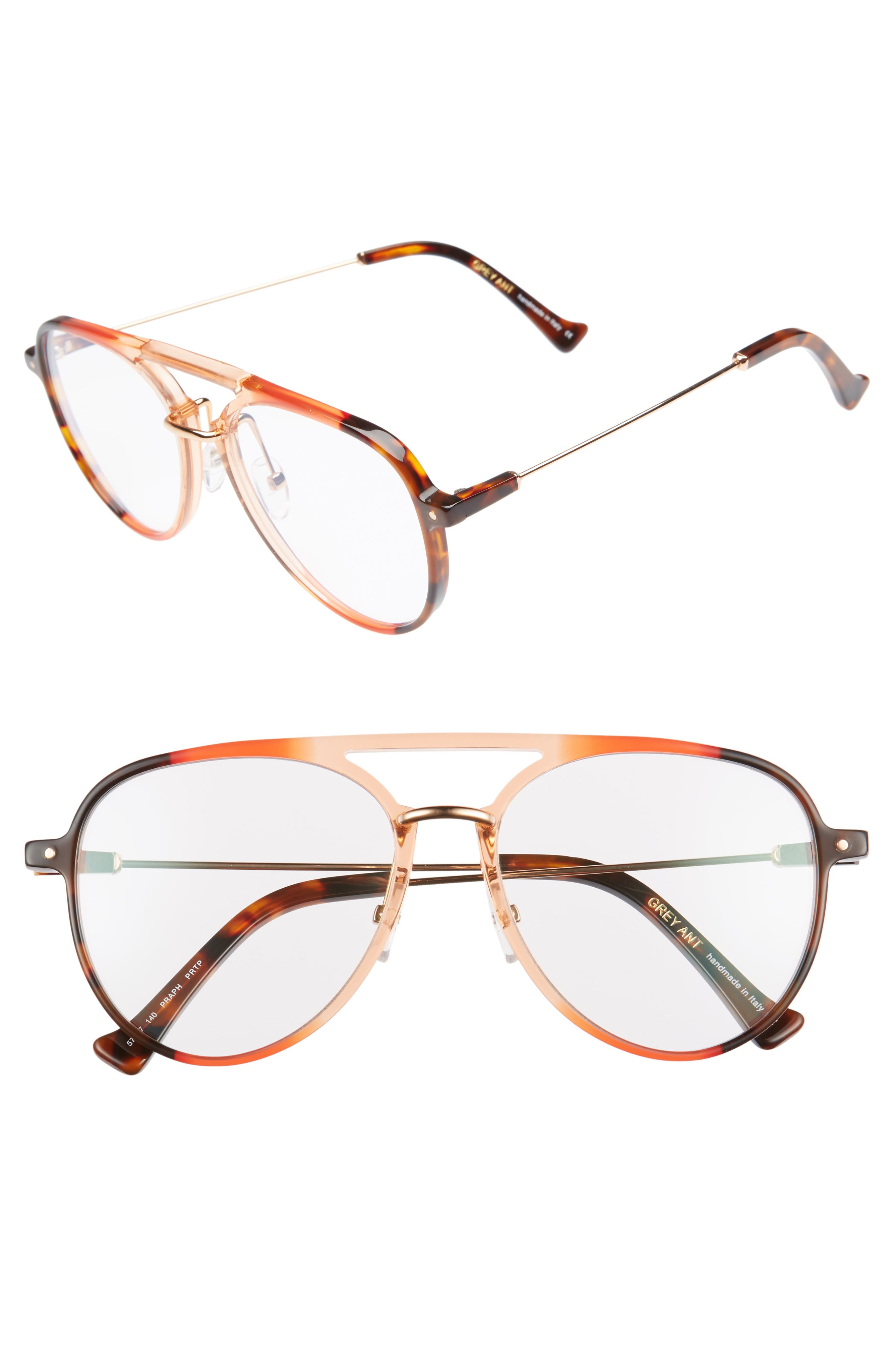 Praph 57mm Aviator Glasses,                             Main thumbnail 1, color,                             CLEAR/AMBER TORT HARDWARE