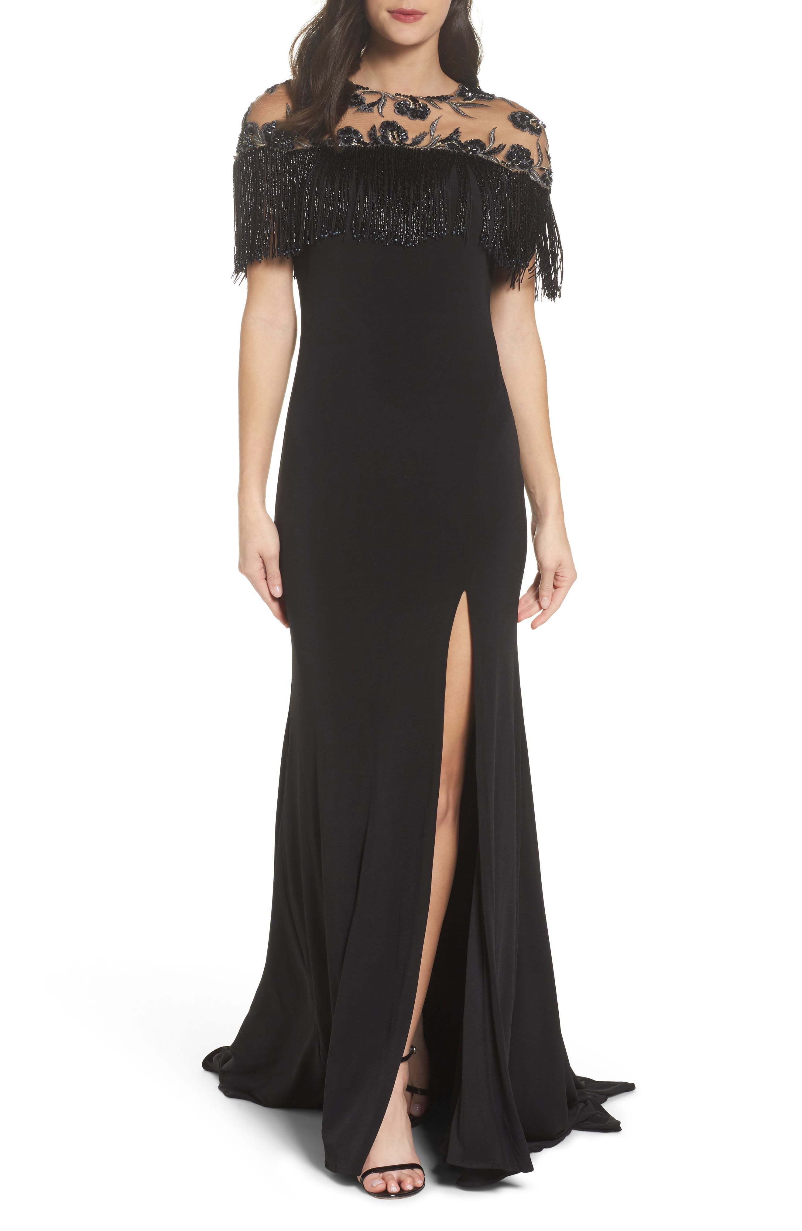 MAC Duggal Beaded Fringe Bodice Gown, Black