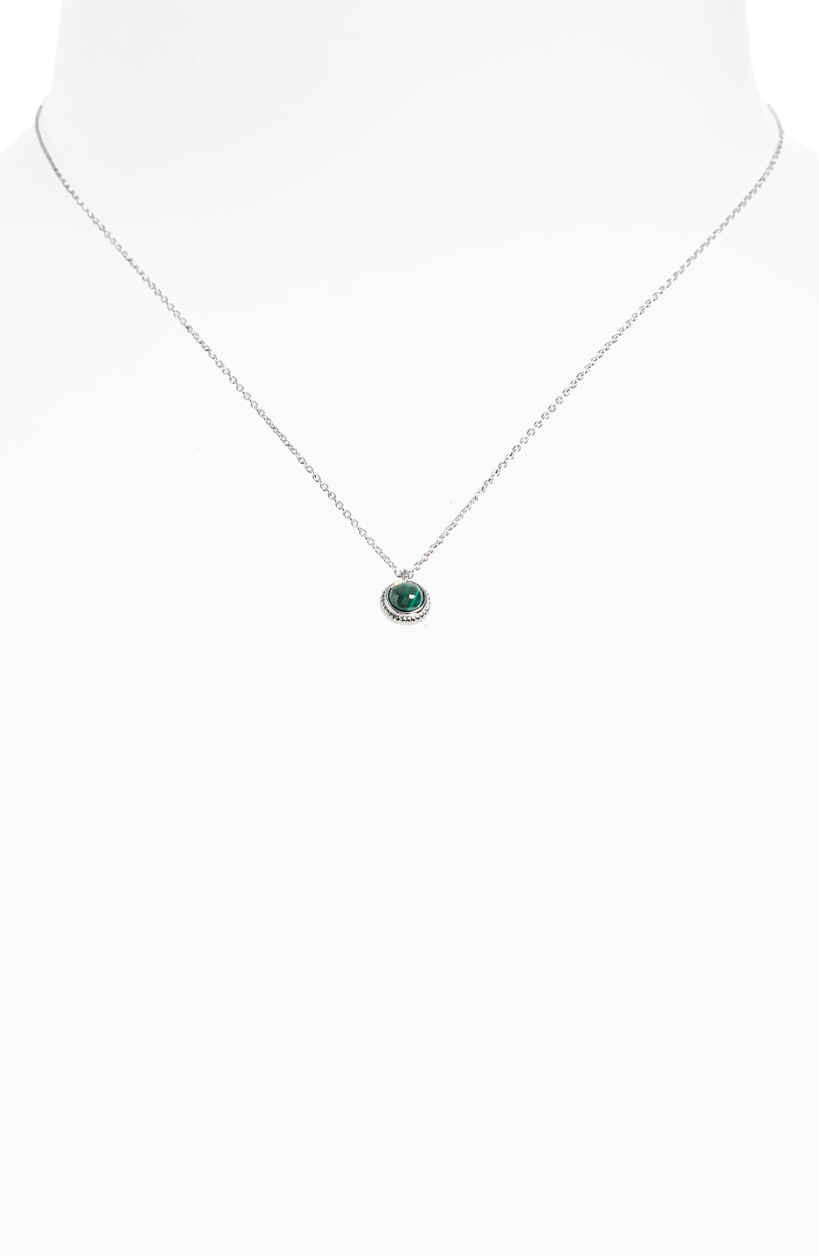 Semiprecious Stone Pendant Necklace,                             Alternate thumbnail 2, color,                             STERLING SILVER/ MALACHITE