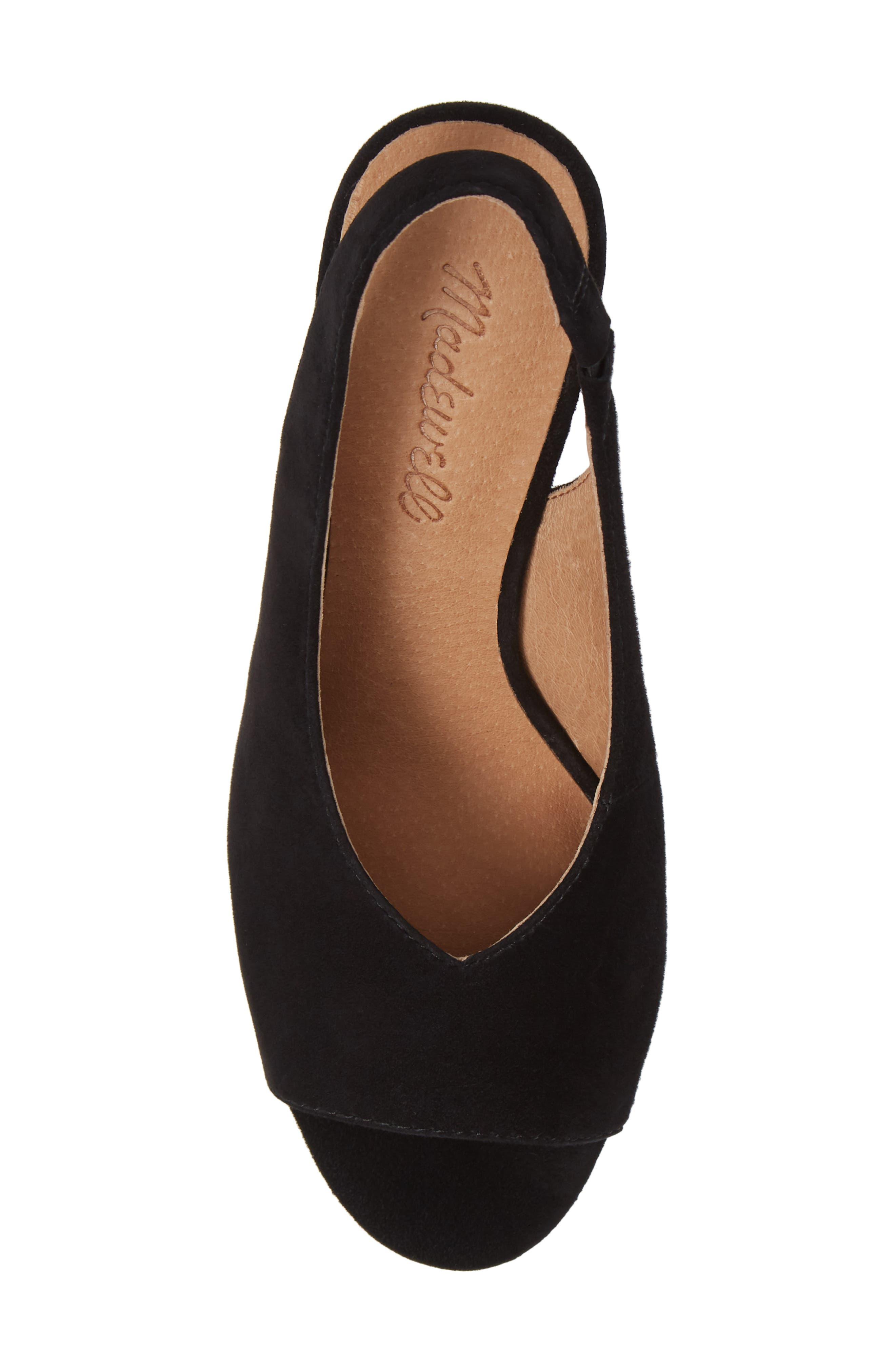 The Alana Slingback Sandal,                             Alternate thumbnail 5, color,                             TRUE BLACK SUEDE