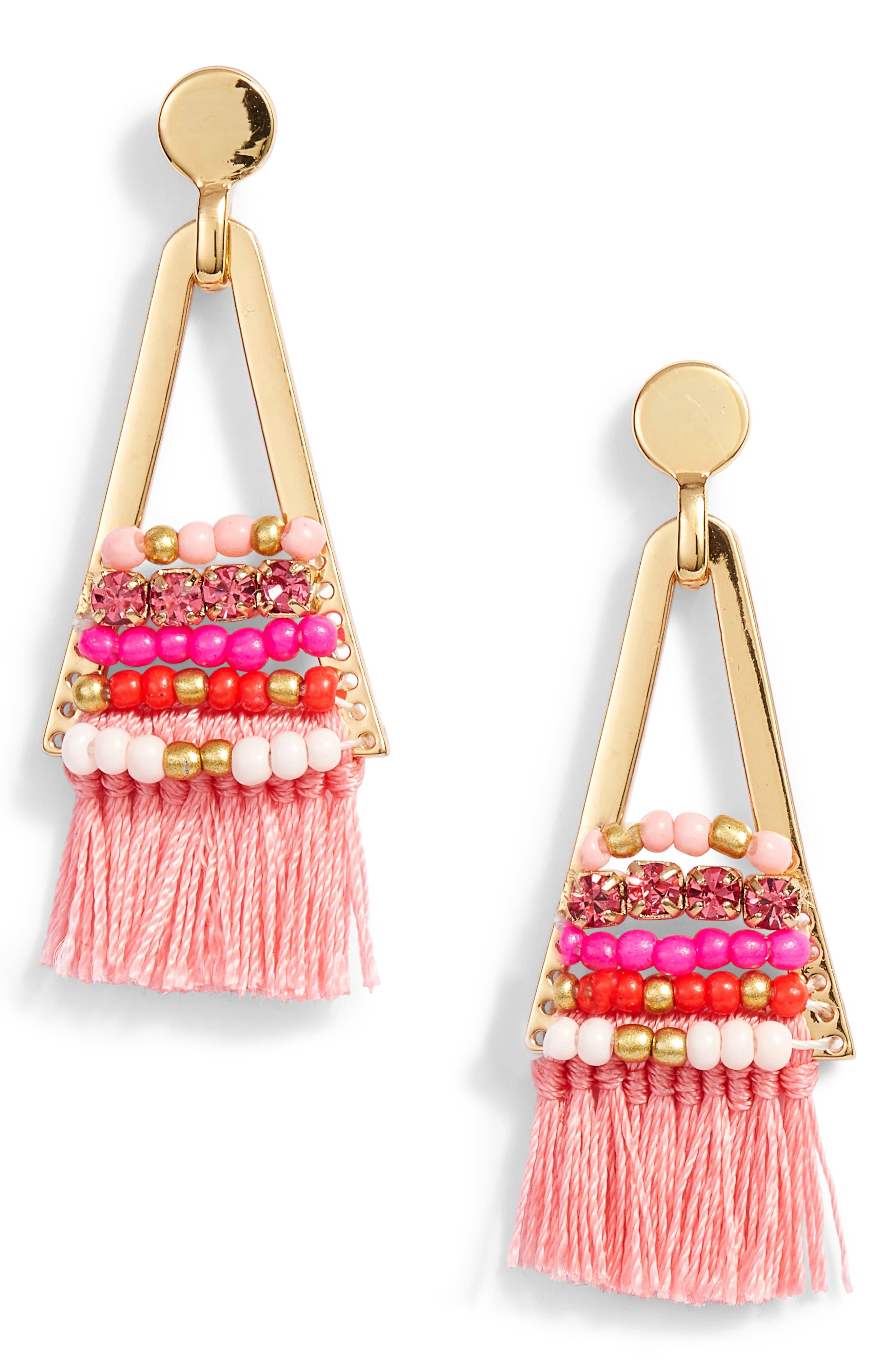 Geo Tassel Chandelier Earrings,                             Main thumbnail 2, color,