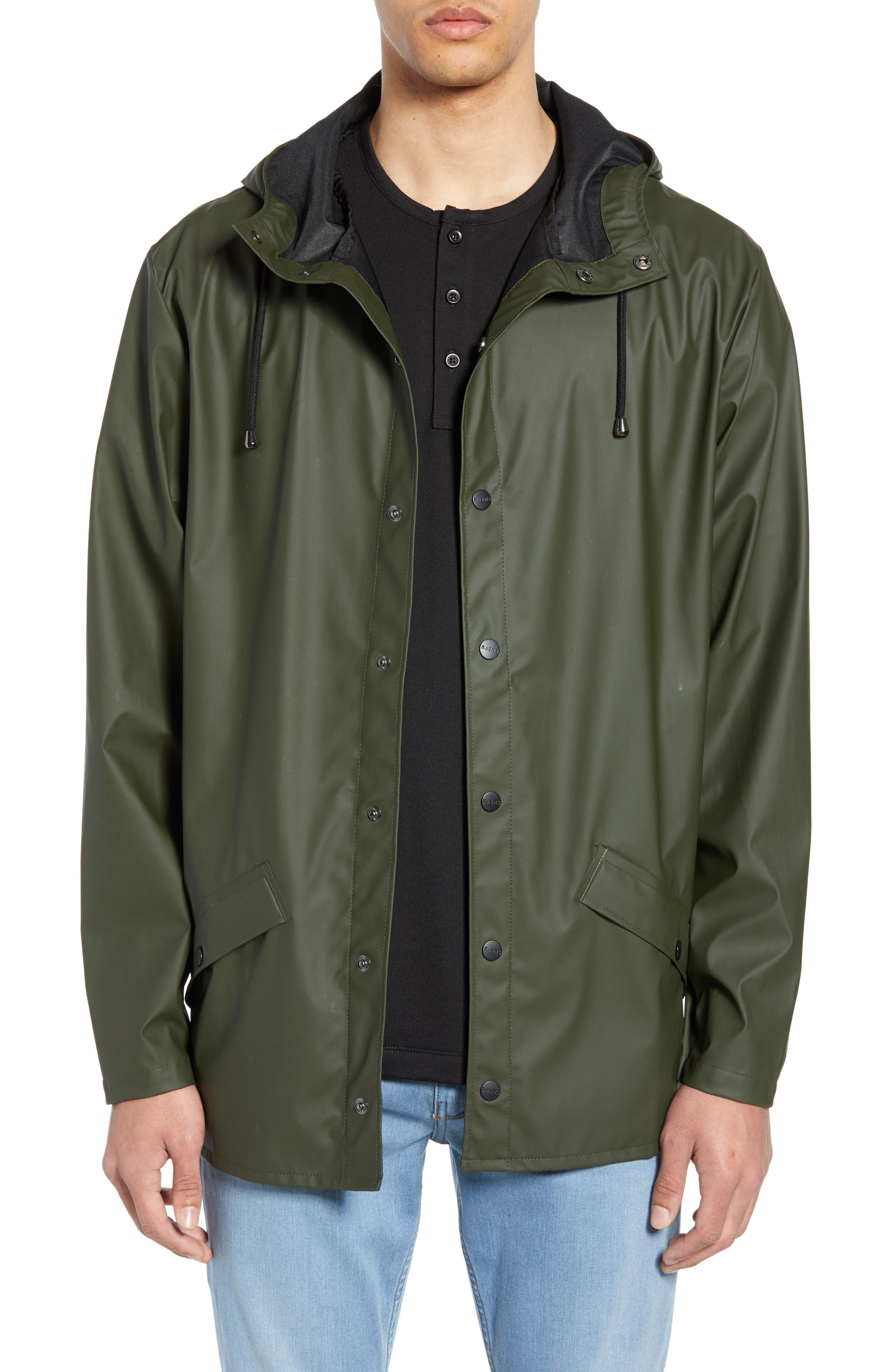 Rains Lightweight Hooded Rain Jacket, Green