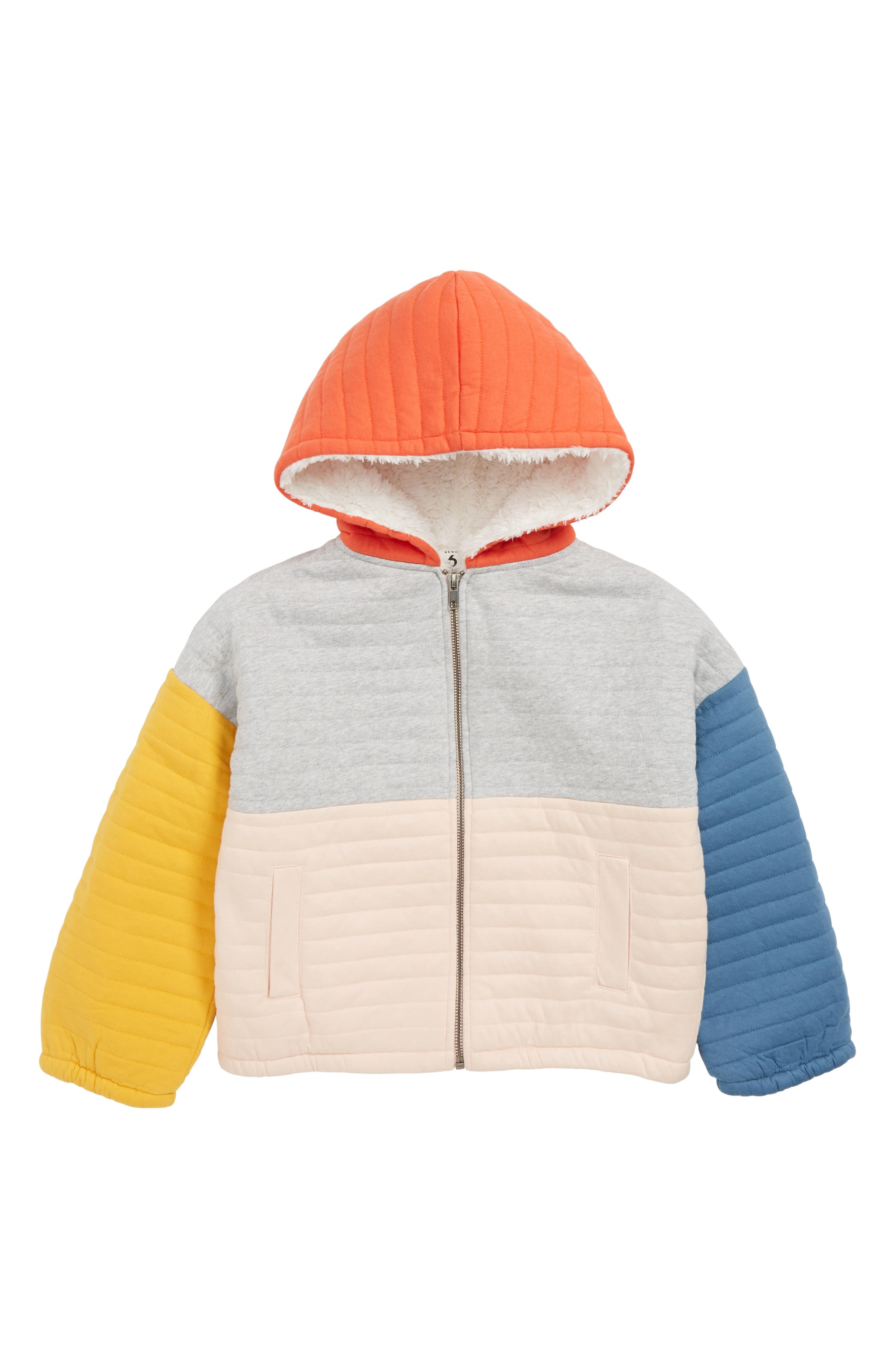 Quilted Jacket with Faux Fur Lining,                             Main thumbnail 1, color,                             050