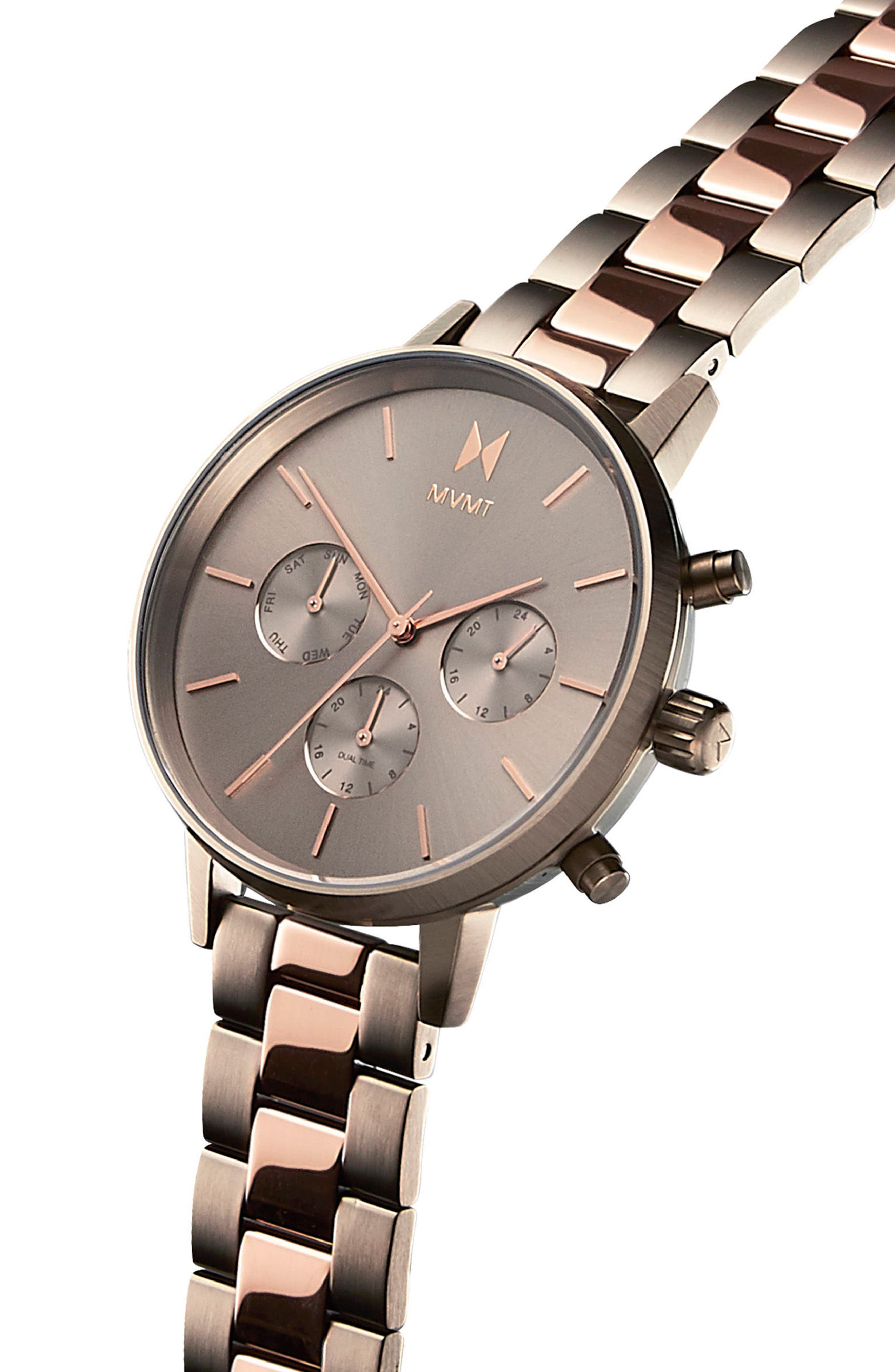 Nova Chronograph Bracelet Watch, 38mm,                             Alternate thumbnail 3, color,                             SLATE/ ROSE GOLD