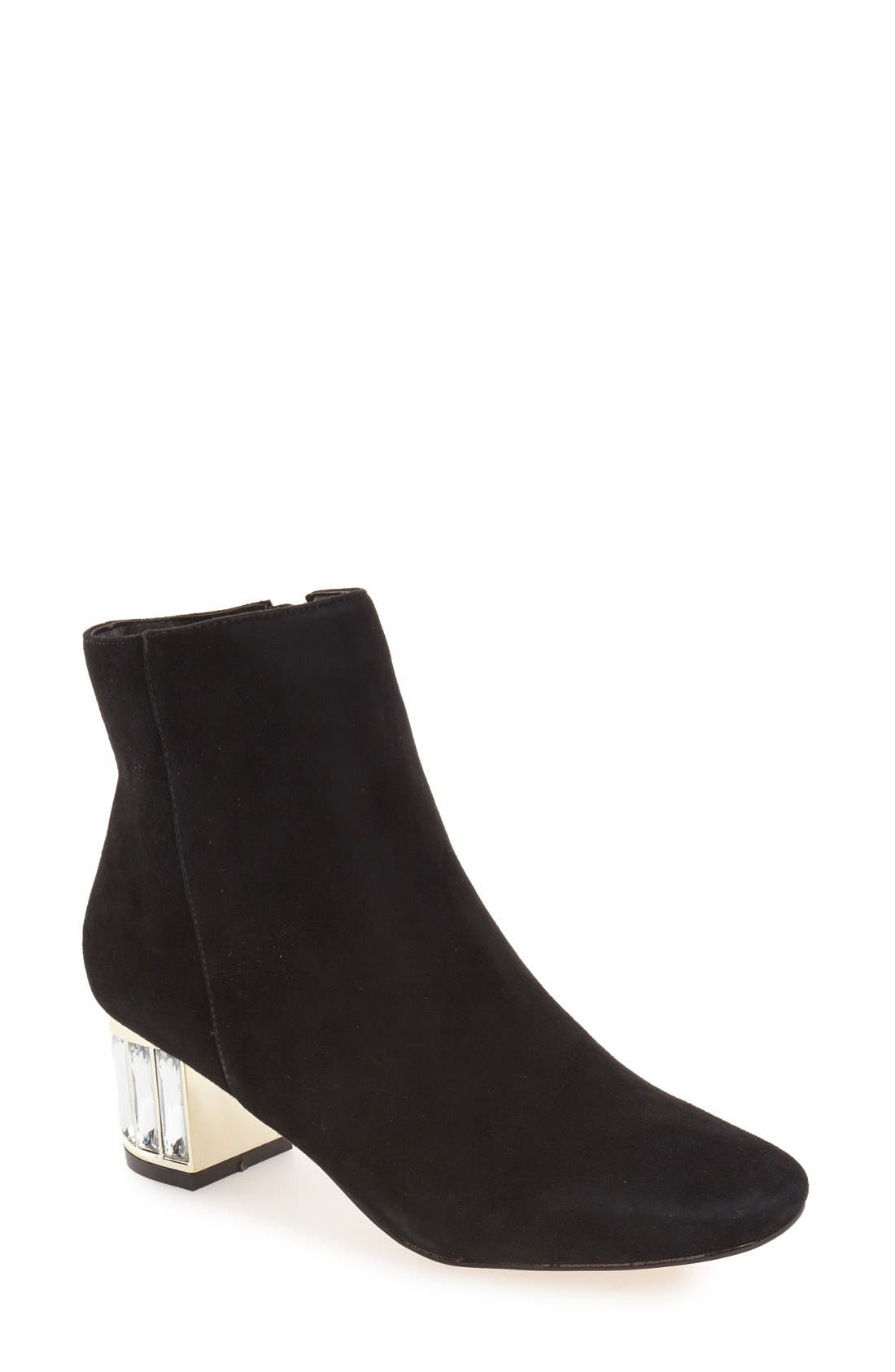 'Orion' Crystal Block Heel Bootie,                             Main thumbnail 1, color,                             003
