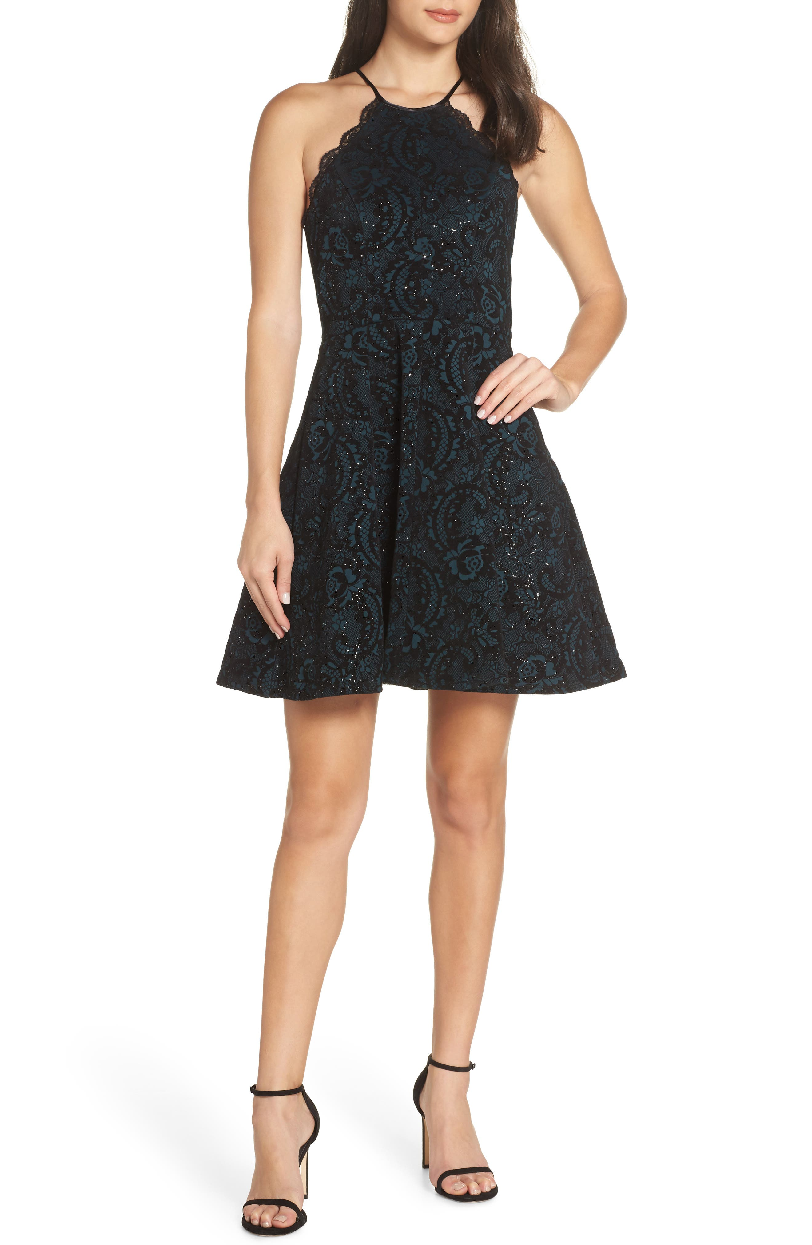 Flocked Fit & Flare Party Dress,                             Main thumbnail 1, color,                             BLACK/ TEAL
