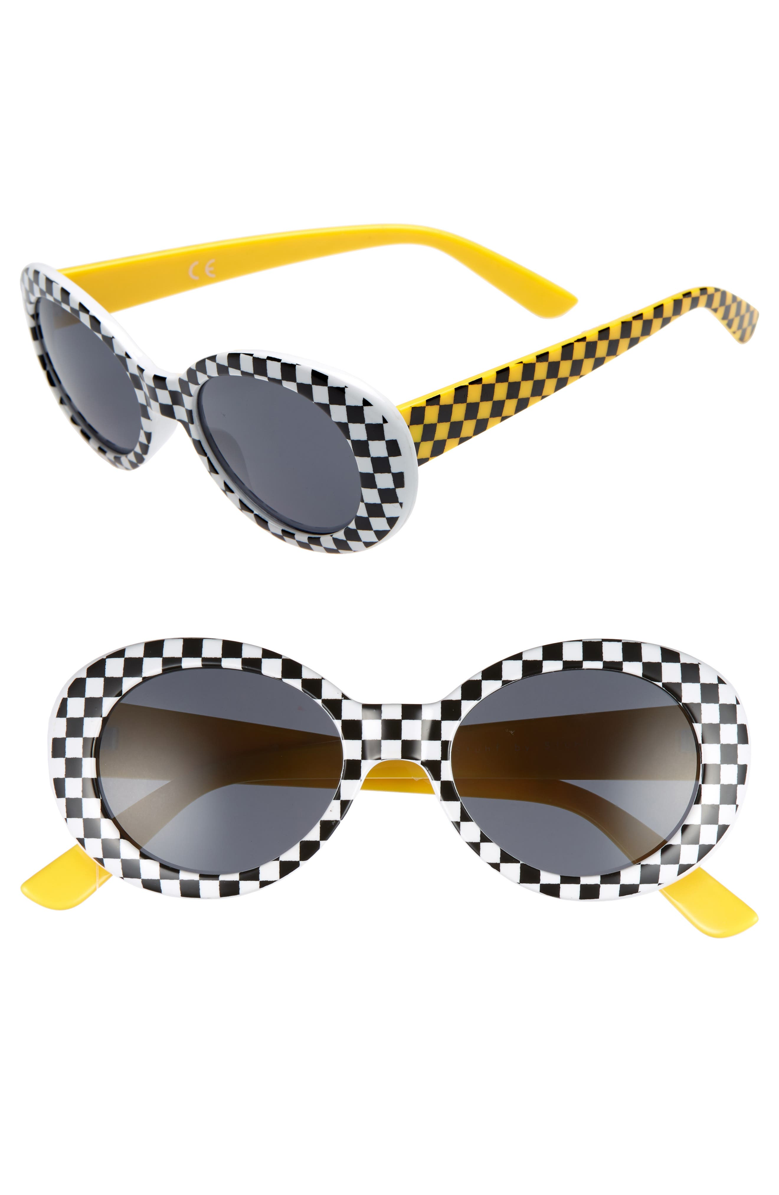 55mm Check Round Sunglasses,                             Main thumbnail 1, color,                             001
