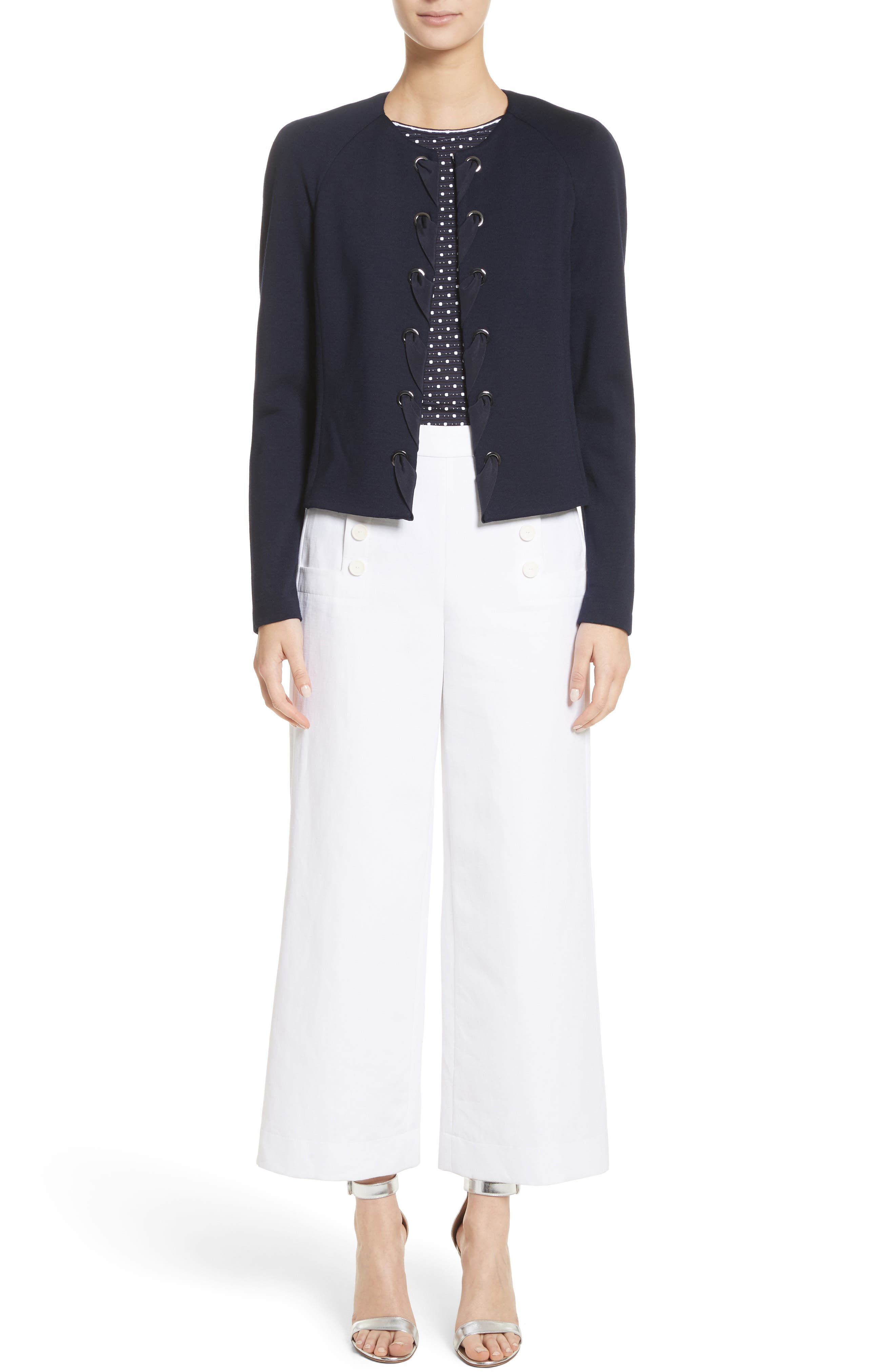 Cotton & Linen Crop Wide Leg Pants,                             Alternate thumbnail 7, color,                             100