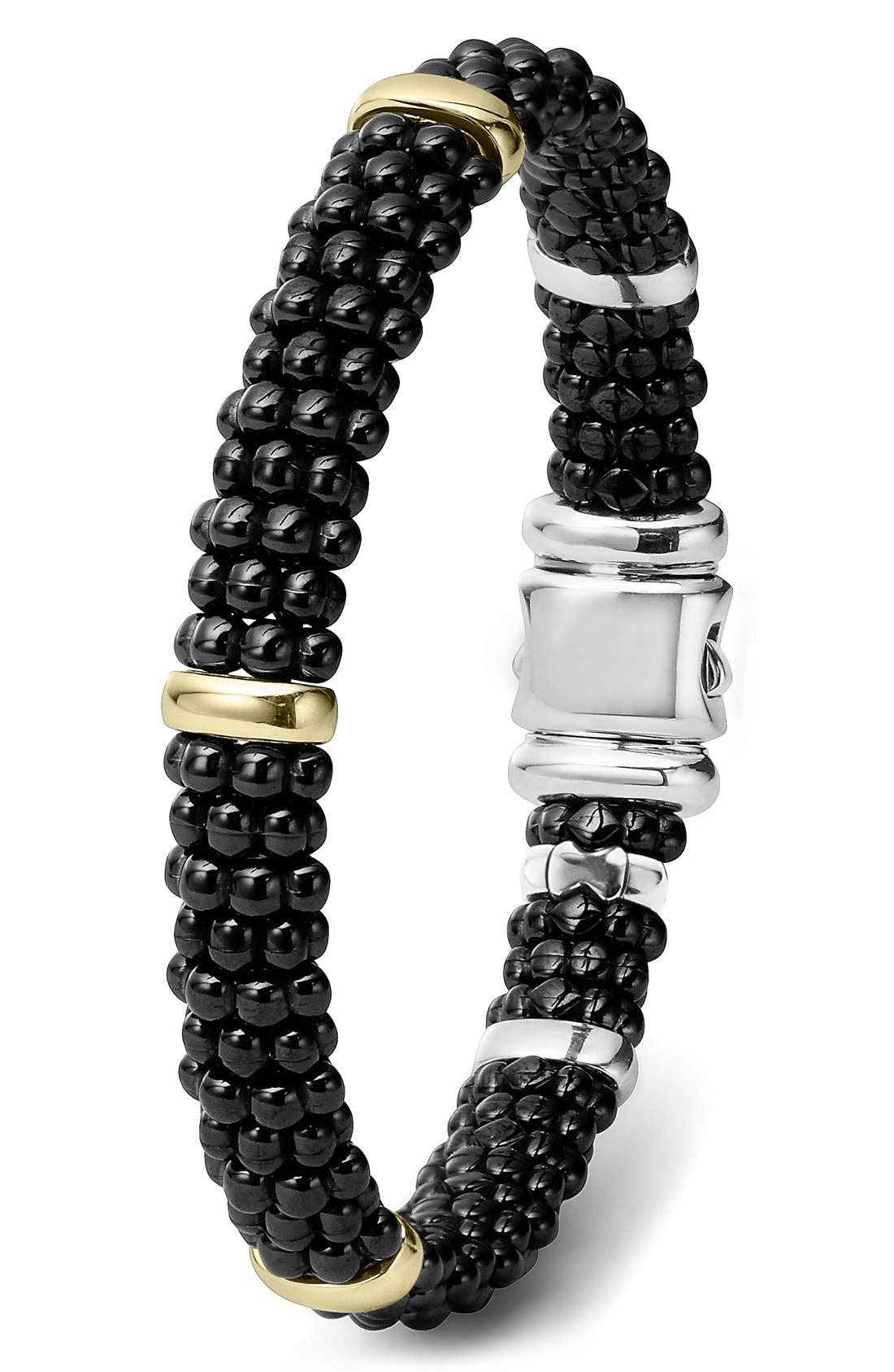 'Black Caviar' Rope Bracelet,                             Alternate thumbnail 3, color,                             BLACK CAVIAR/ GOLD