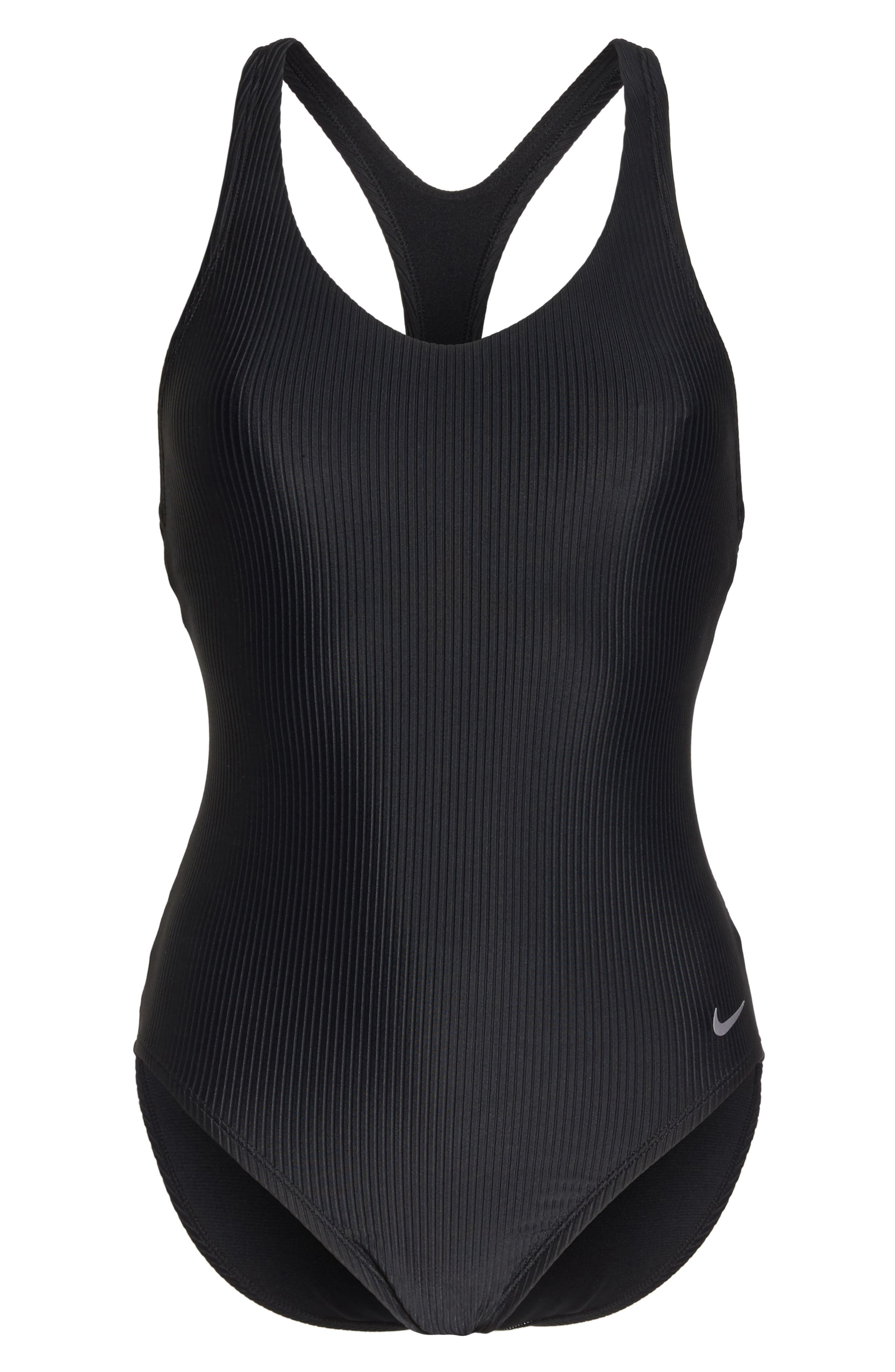 Swim Ribbed One-Piece Swimsuit,                             Alternate thumbnail 6, color,                             001