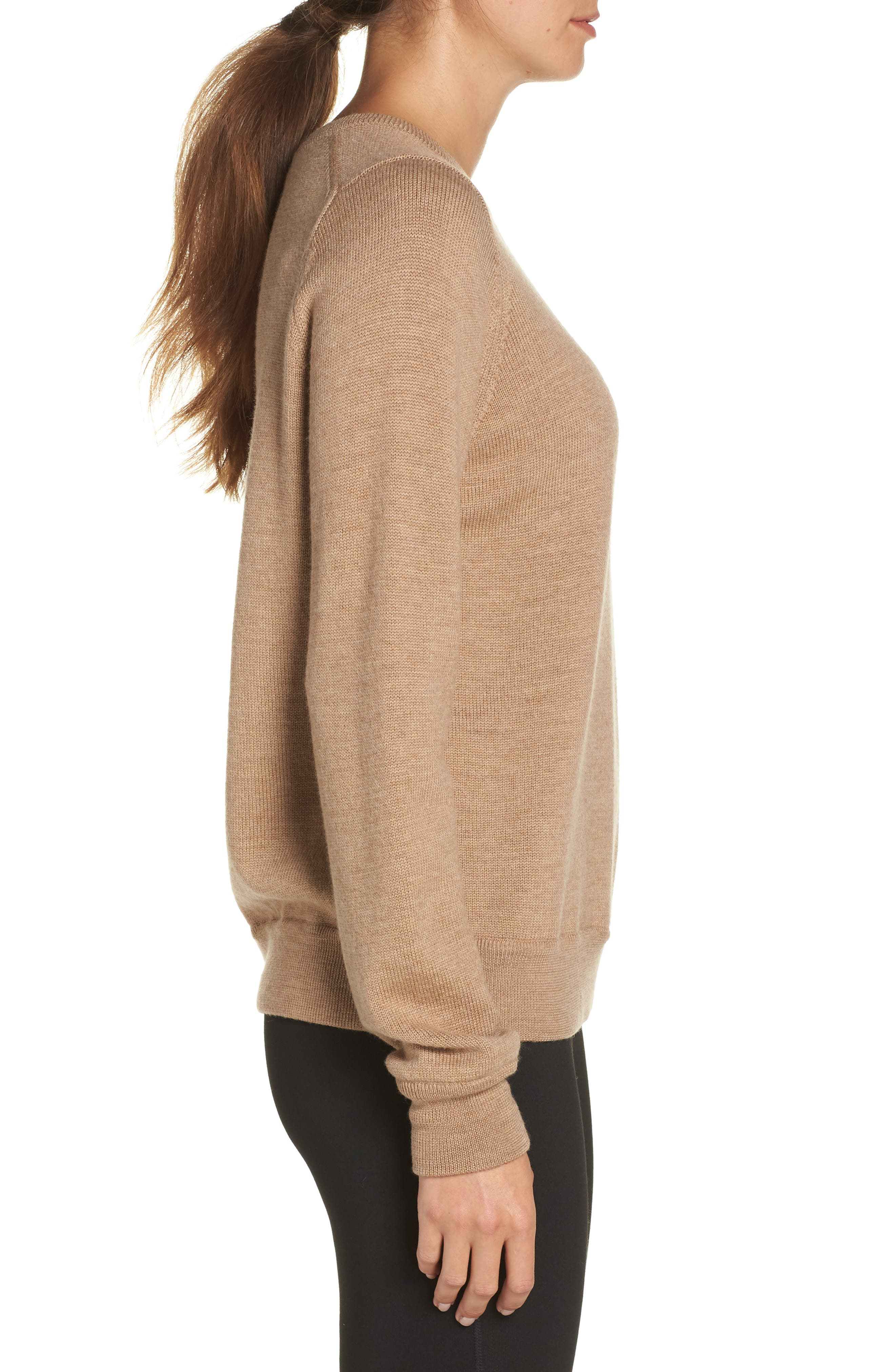 Muster Merino Wool Sweater,                             Alternate thumbnail 3, color,                             CAMEL HEATHER
