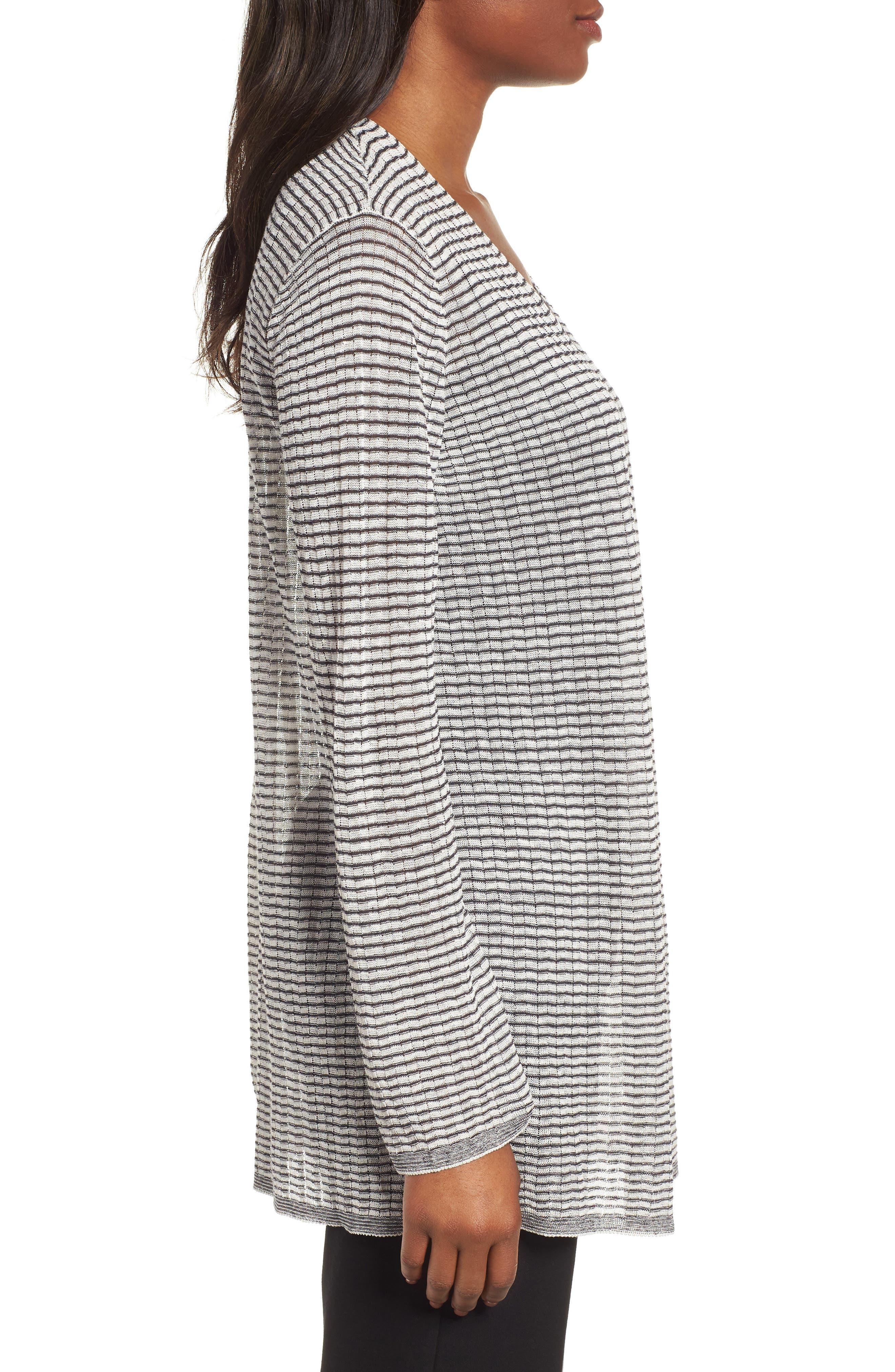 Stripe Organic Linen Blend Cardigan,                             Alternate thumbnail 3, color,