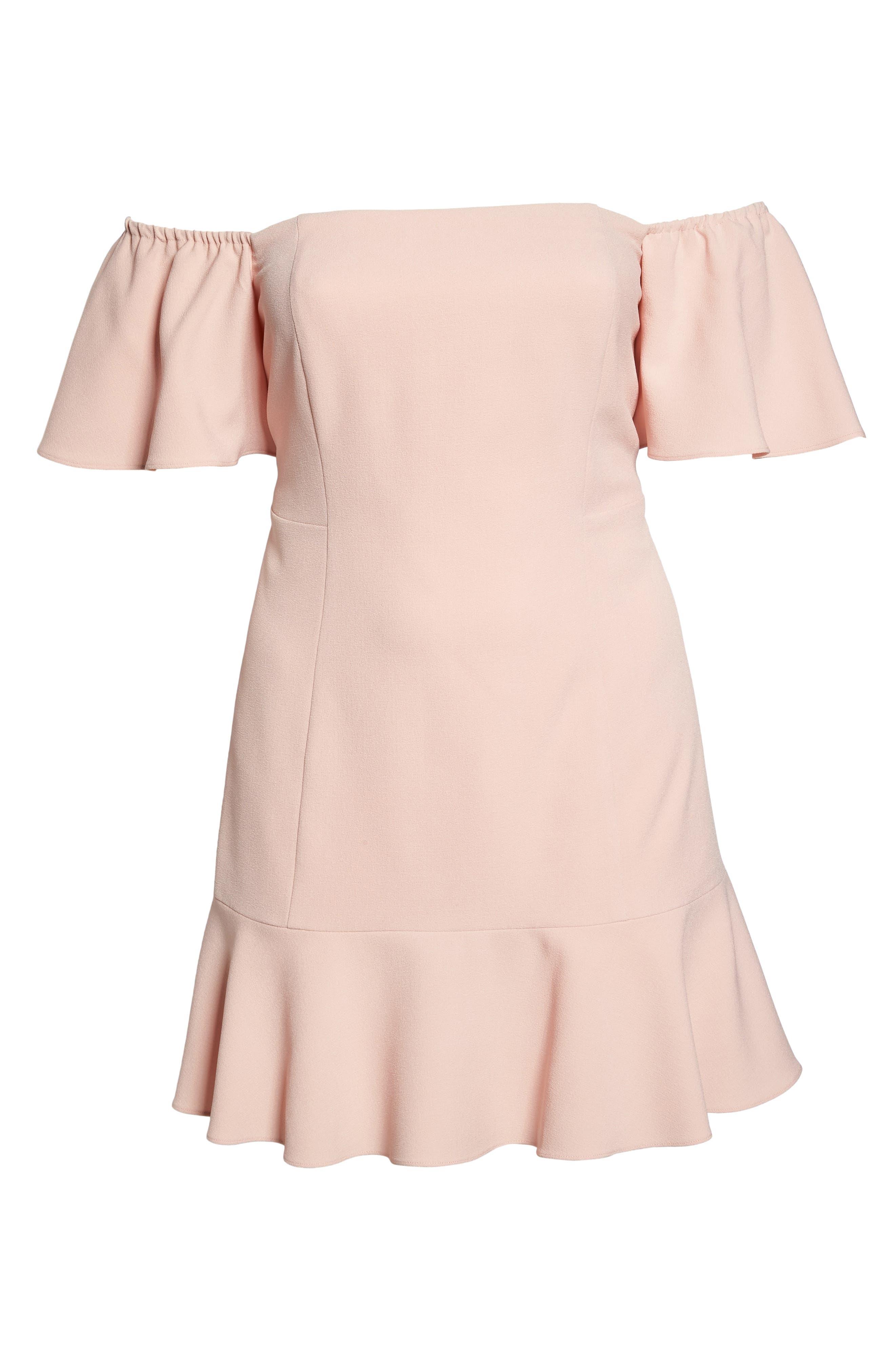 Off the Shoulder Crepe Dress,                             Alternate thumbnail 6, color,