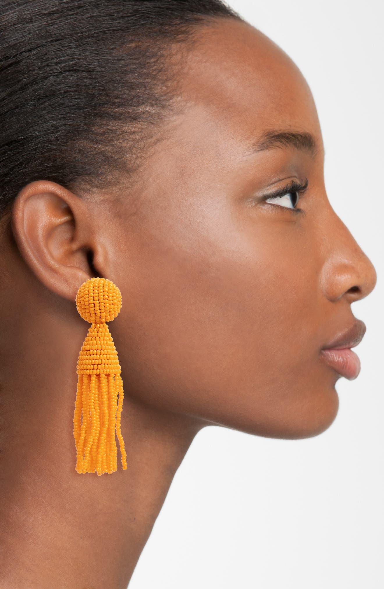 'Classic Short' Tassel Drop Clip Earrings,                             Alternate thumbnail 42, color,