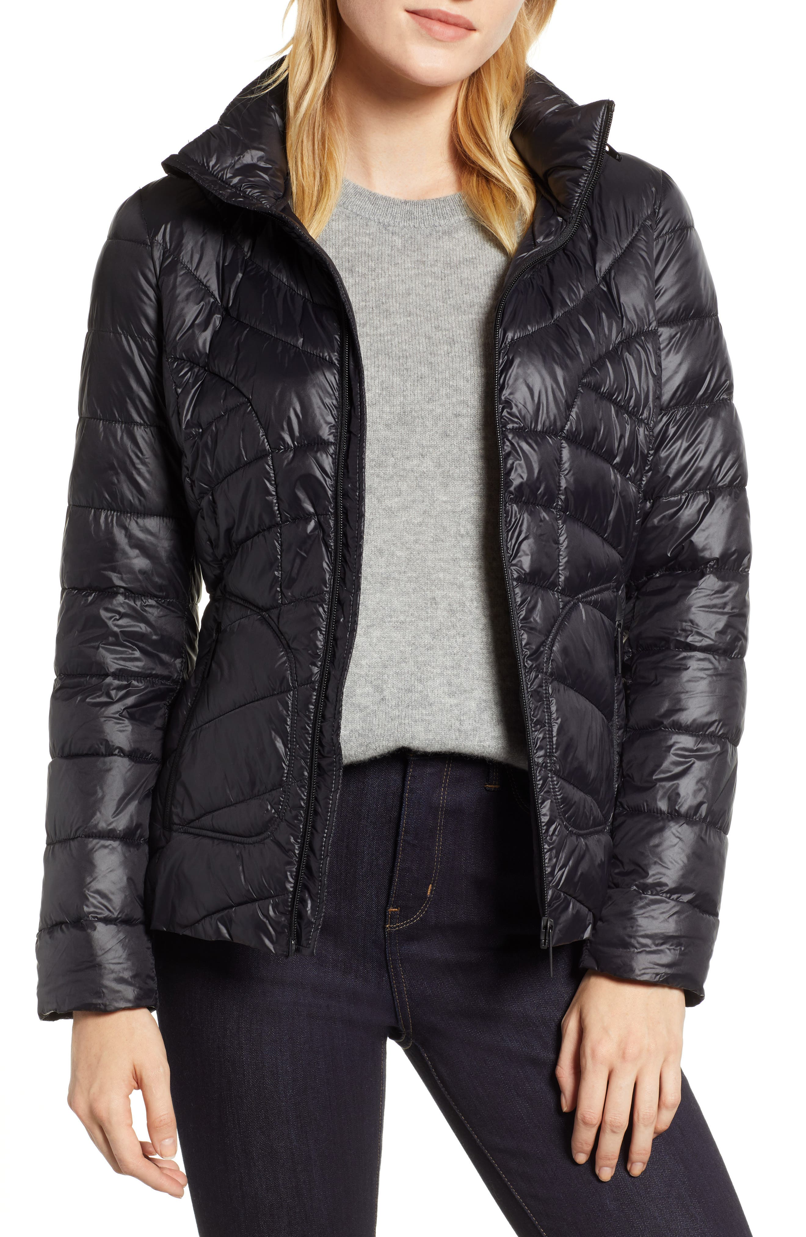 Puffer Jacket,                         Main,                         color, BLACK