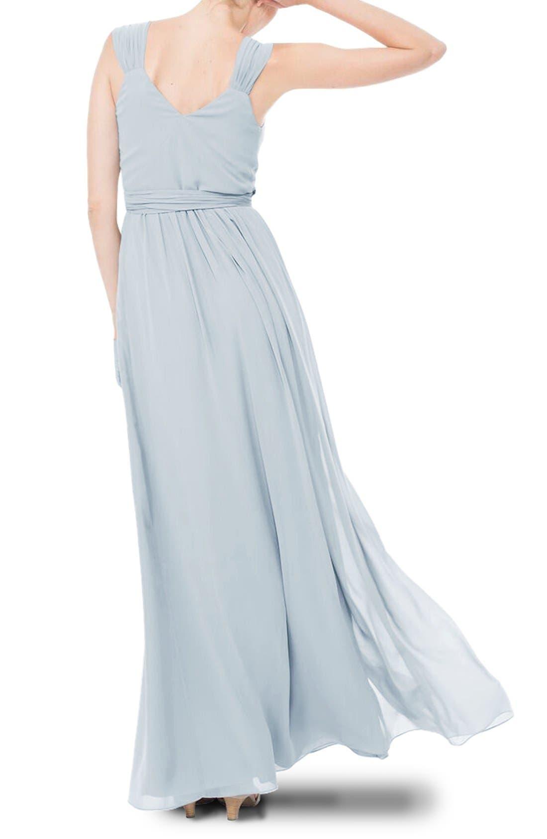 Newbury Gathered Sleeve Chiffon Wrap Gown,                             Alternate thumbnail 15, color,