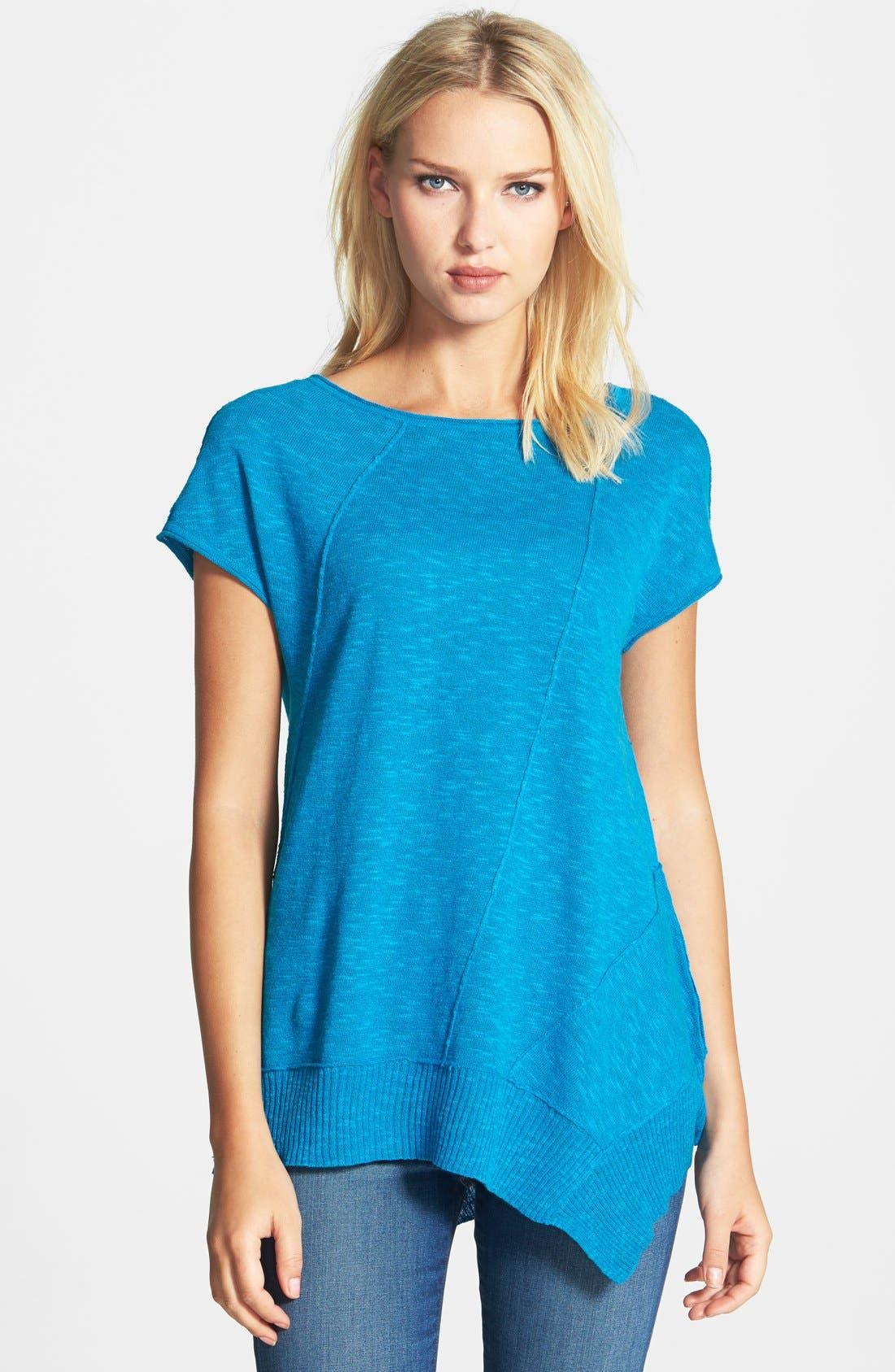 Cap Sleeve Organic Linen & Cotton Scoop Neck Top,                             Main thumbnail 13, color,