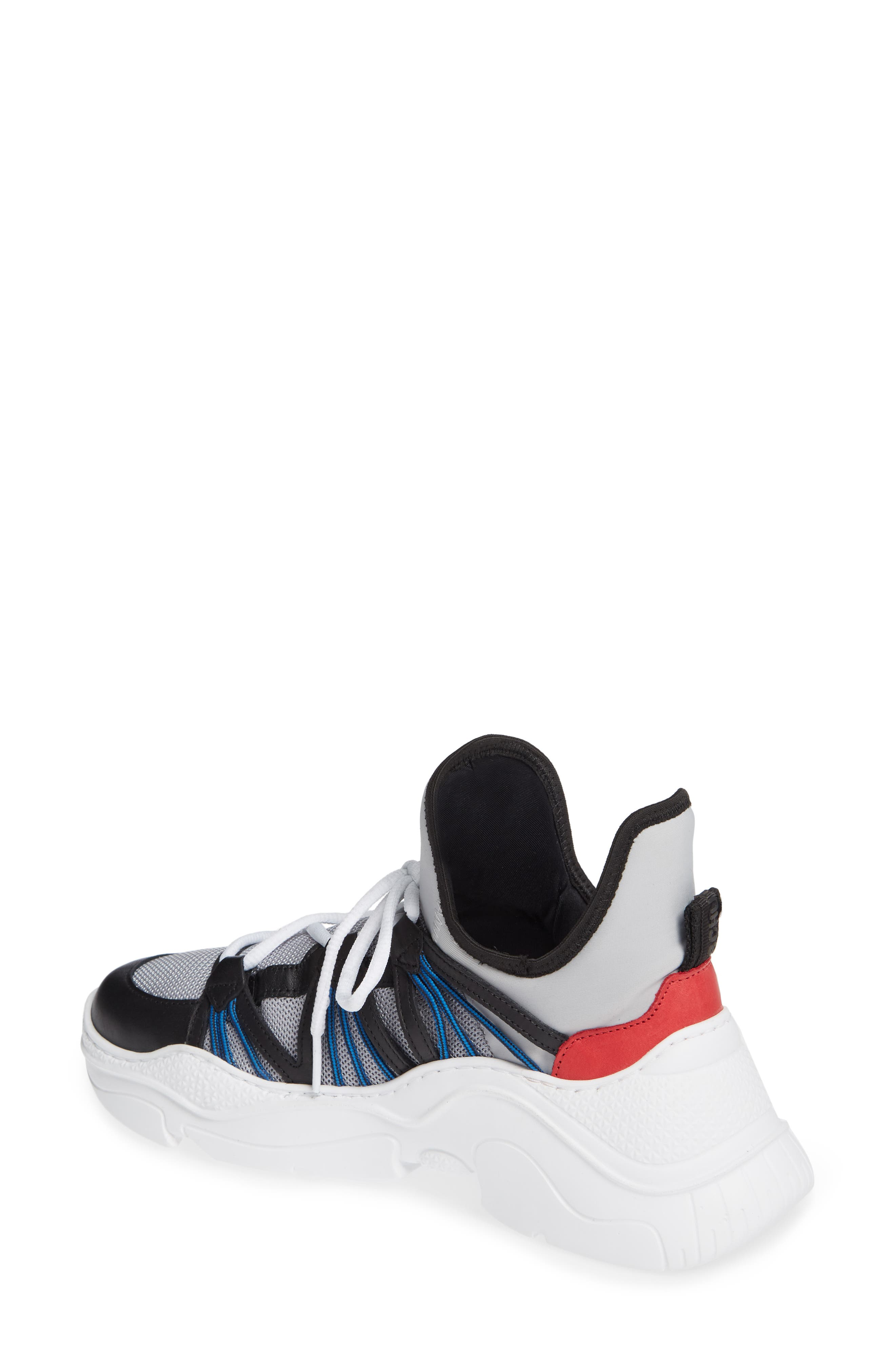 Anick Lace-Up Sneaker,                             Alternate thumbnail 2, color,                             SILVER/ BLACK/ CLUB RED