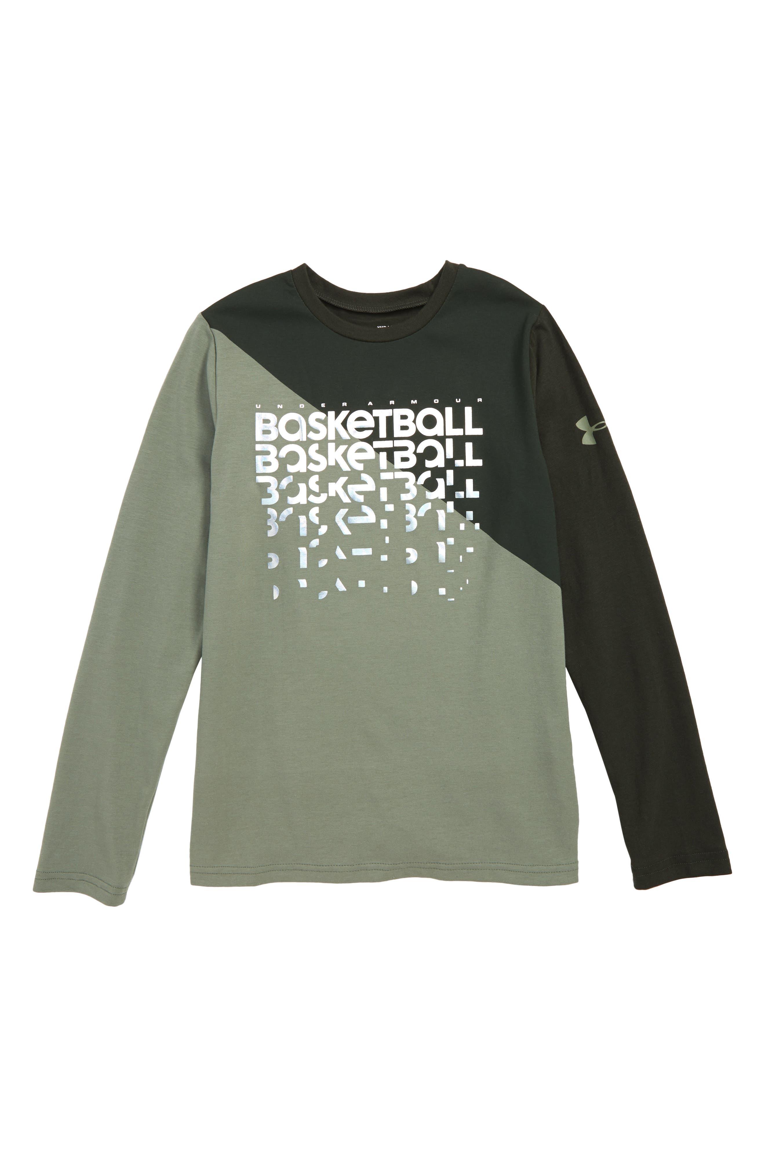 Basketball Repeat Long Sleeve HeatGear<sup>®</sup> T-Shirt, Main, color, MOSS GREEN / FOIL