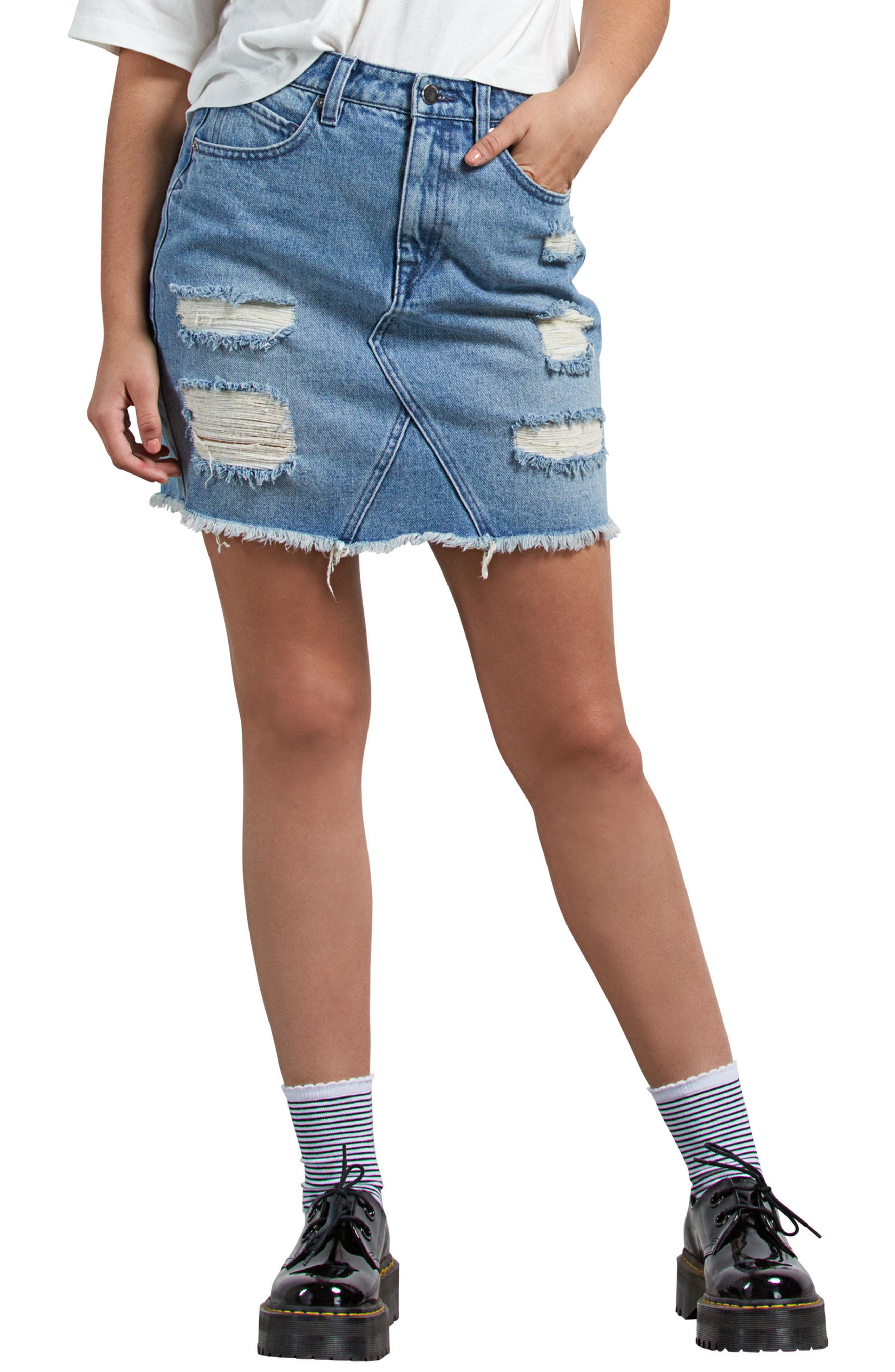Stoned Denim Skirt,                         Main,                         color, HEAVY WORN FADED