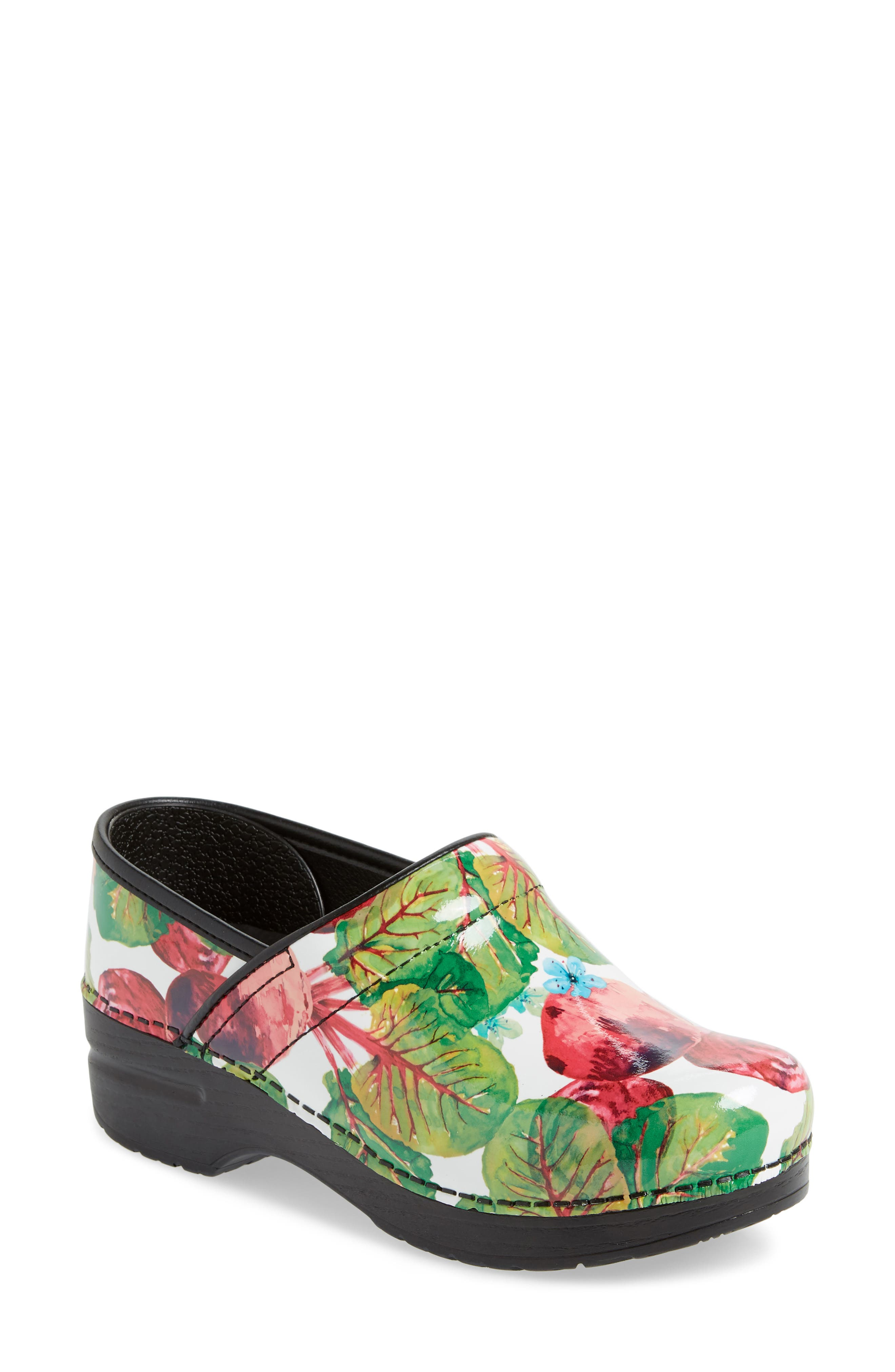 'Professional' Clog,                             Main thumbnail 1, color,                             BEETS PATENT LEATHER