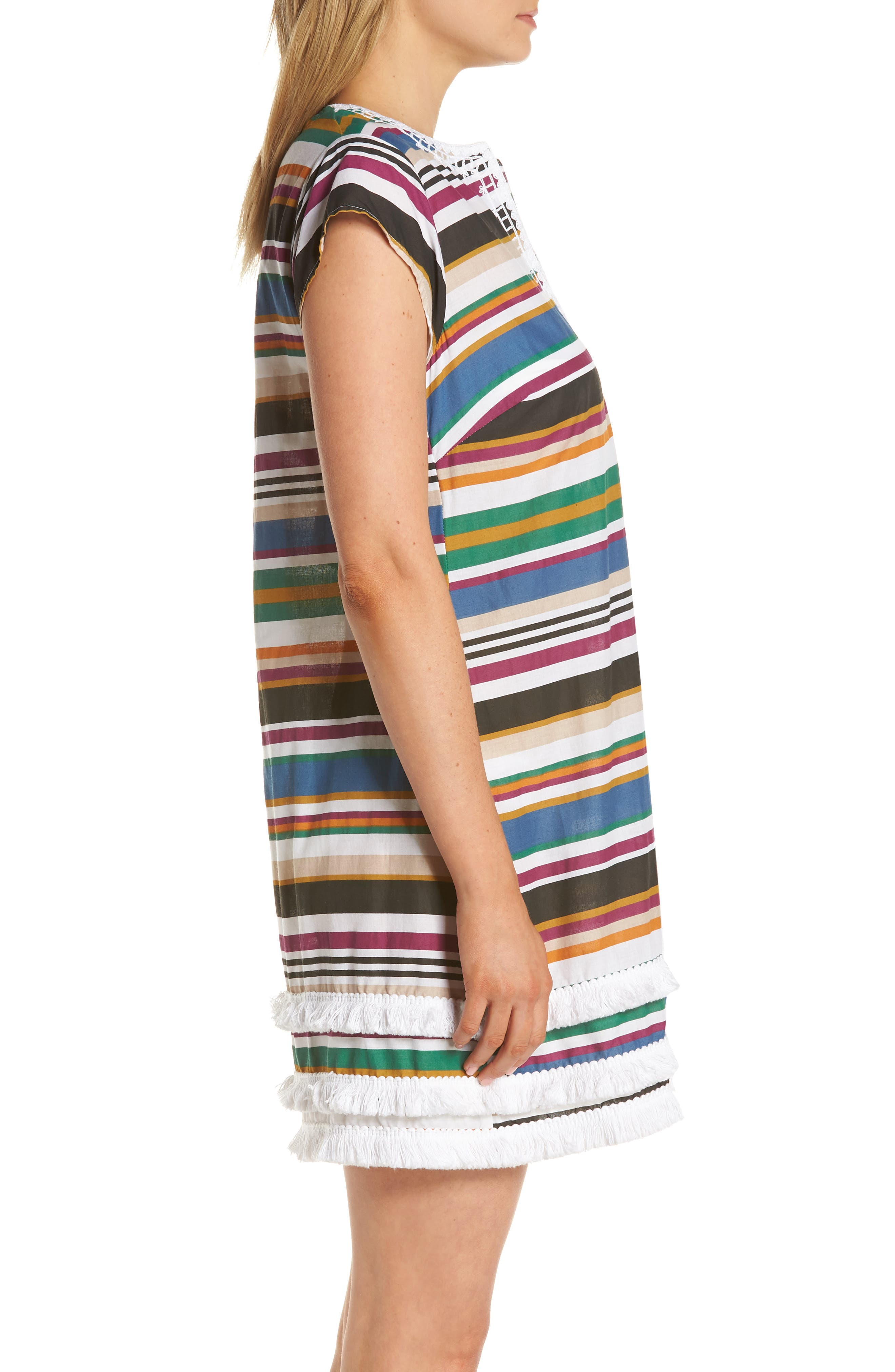 BLEU BY ROD BEATTIE,                             Under Cover Stripe Cover-Up Dress,                             Alternate thumbnail 3, color,                             NAVY/ NEUTRAL