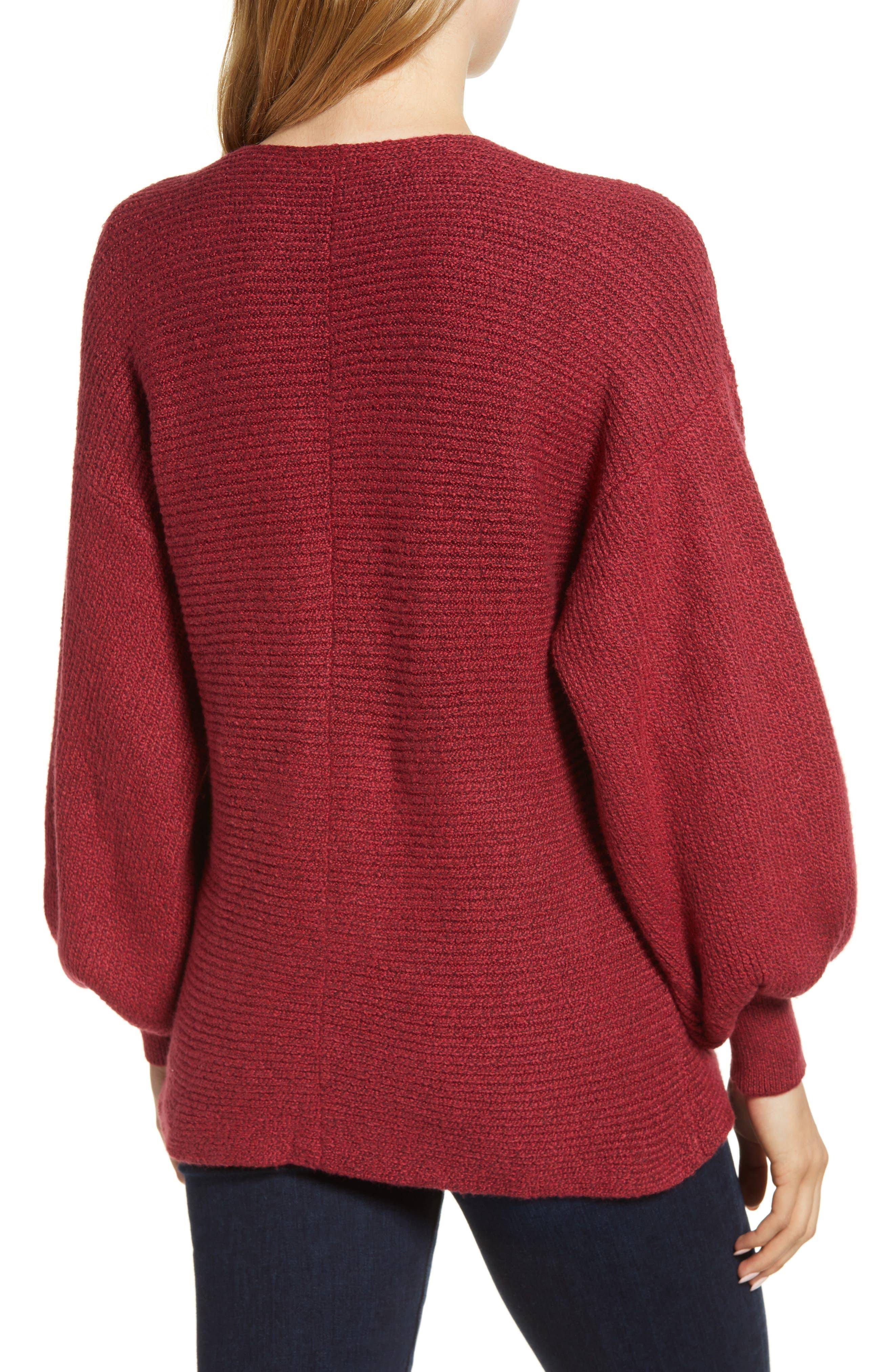 Blouson Sleeve V-Neck Sweater,                             Alternate thumbnail 2, color,                             641