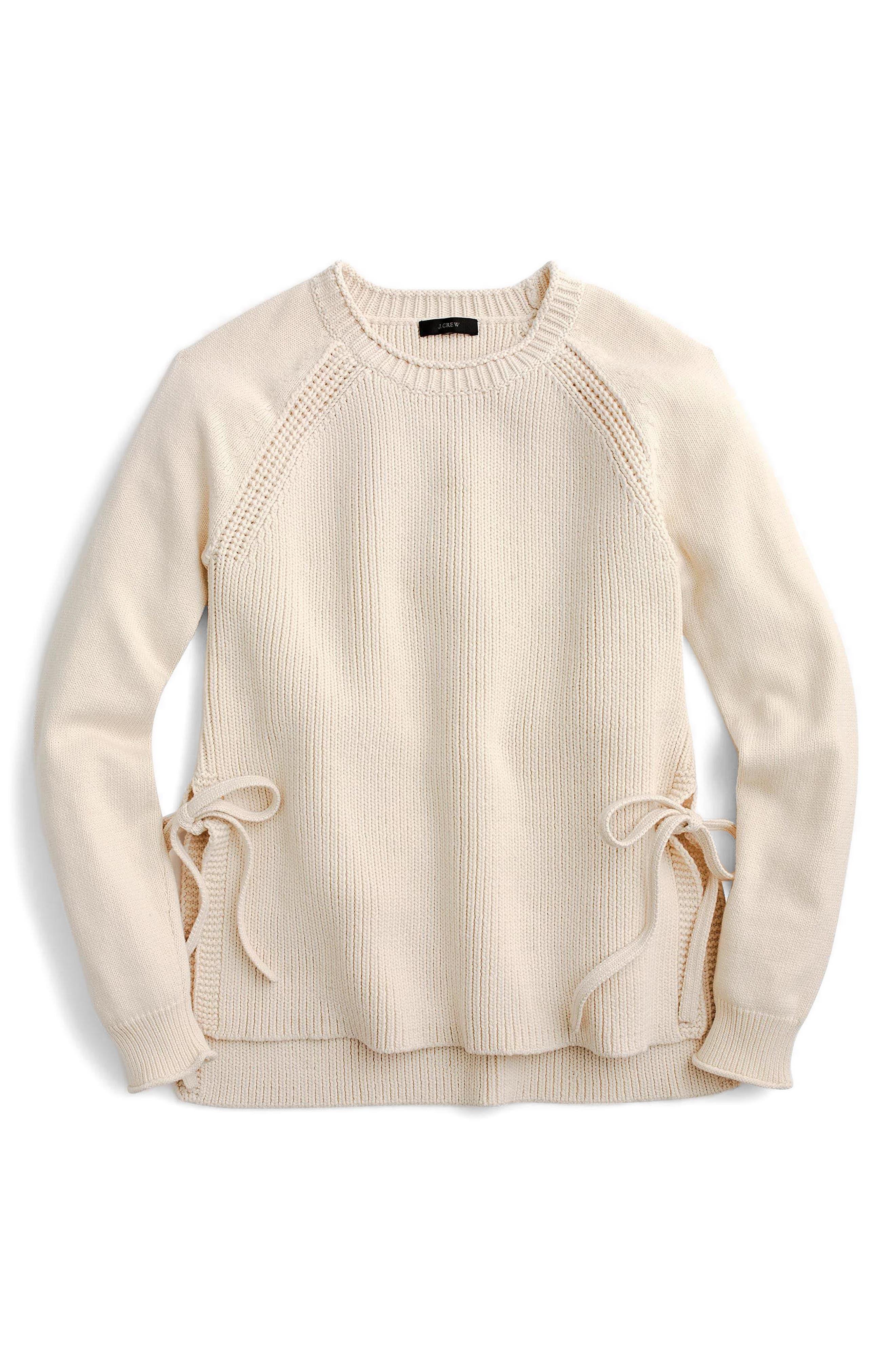 Side Tie Crewneck Sweater,                             Alternate thumbnail 5, color,