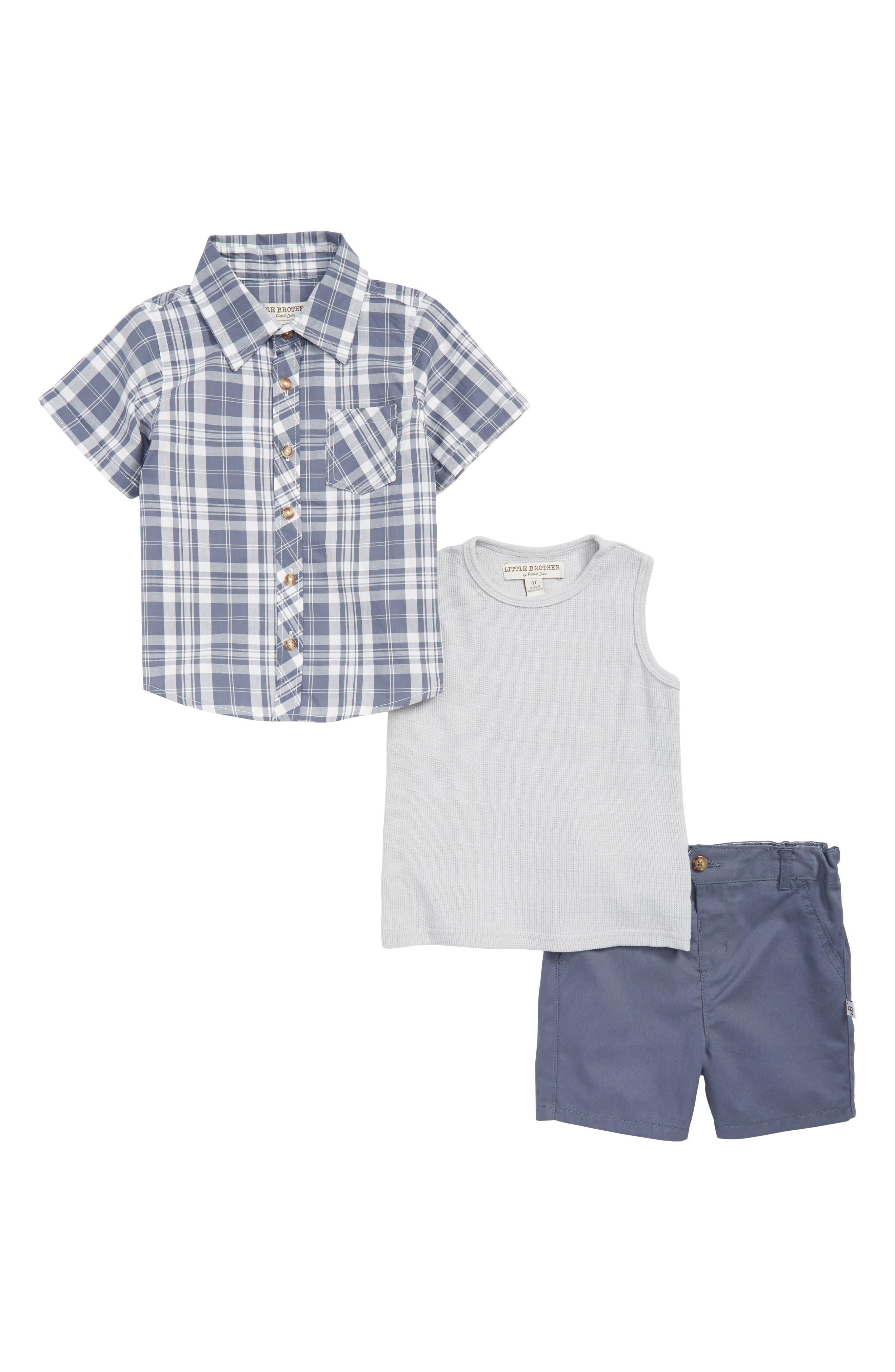 Plaid Shirt, Tank Top & Shorts Set,                         Main,                         color, 400