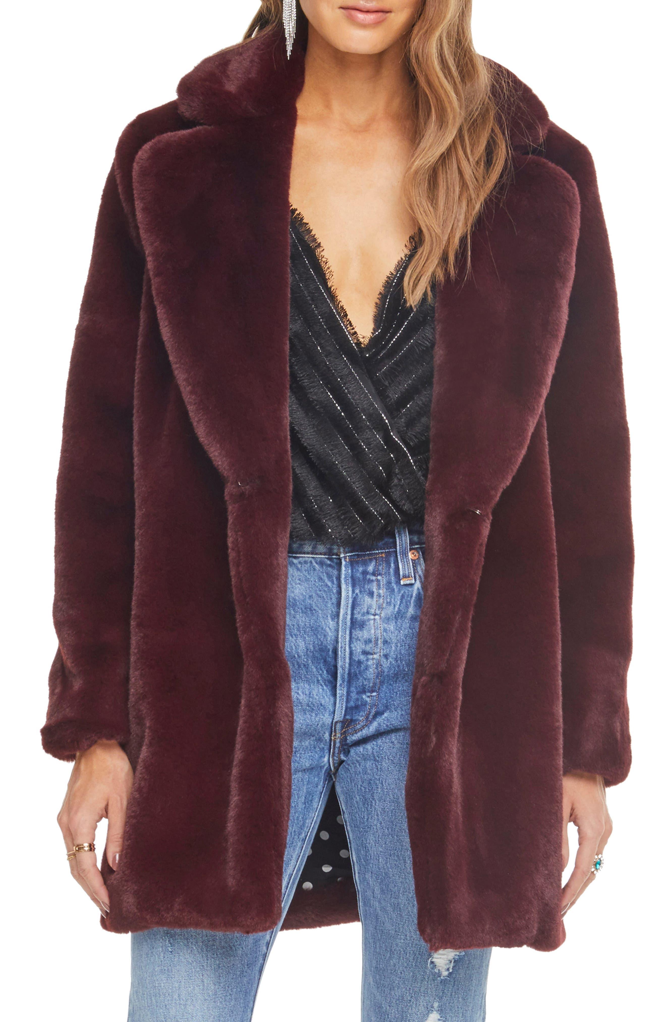 Cleo Faux Fur Coat,                         Main,                         color, PLUM