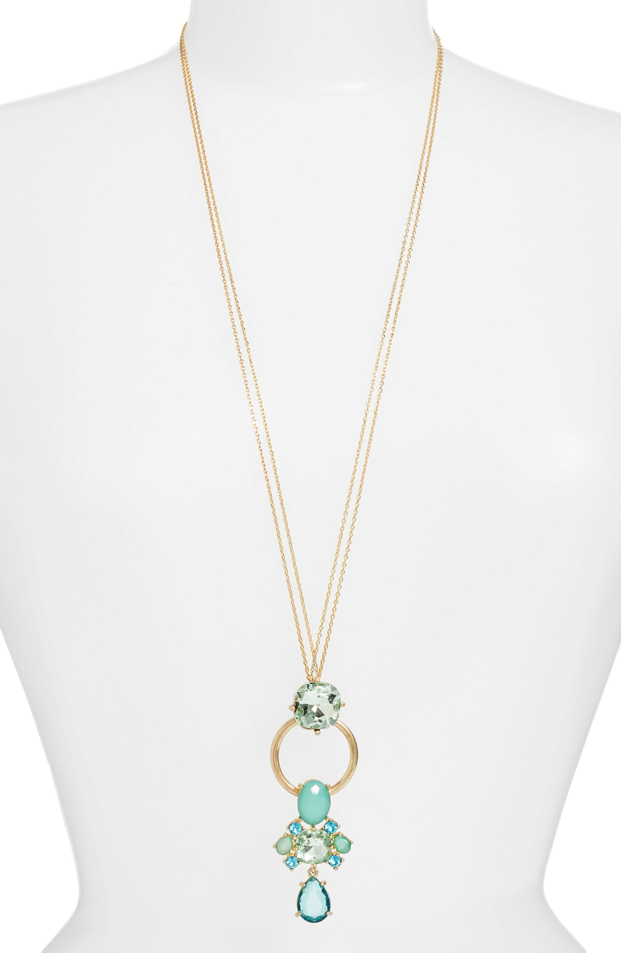 Jewel Pendant Necklace,                         Main,                         color, 420