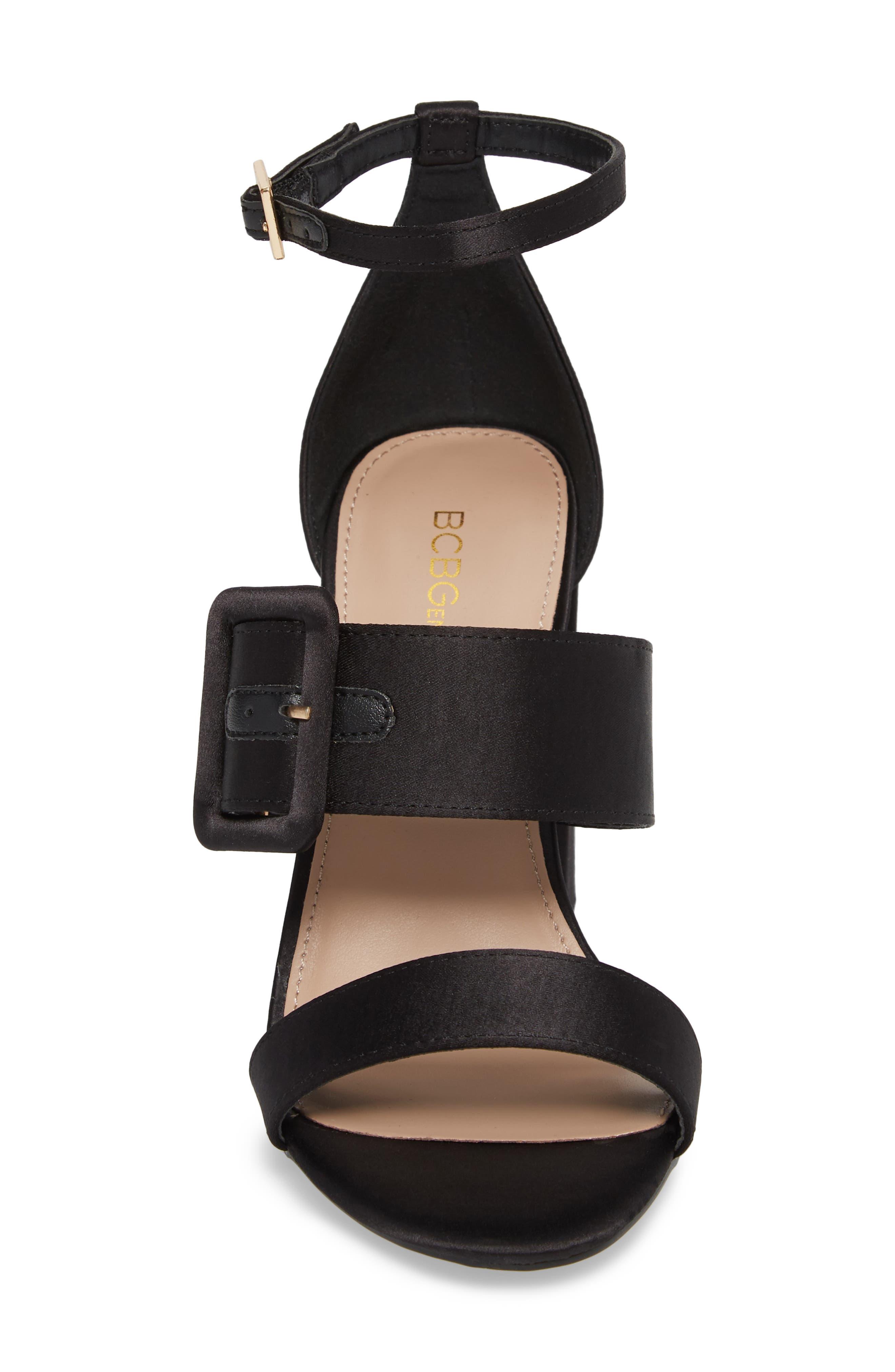 Raelynn Ankle Strap Sandal,                             Alternate thumbnail 4, color,                             BLACK SATIN