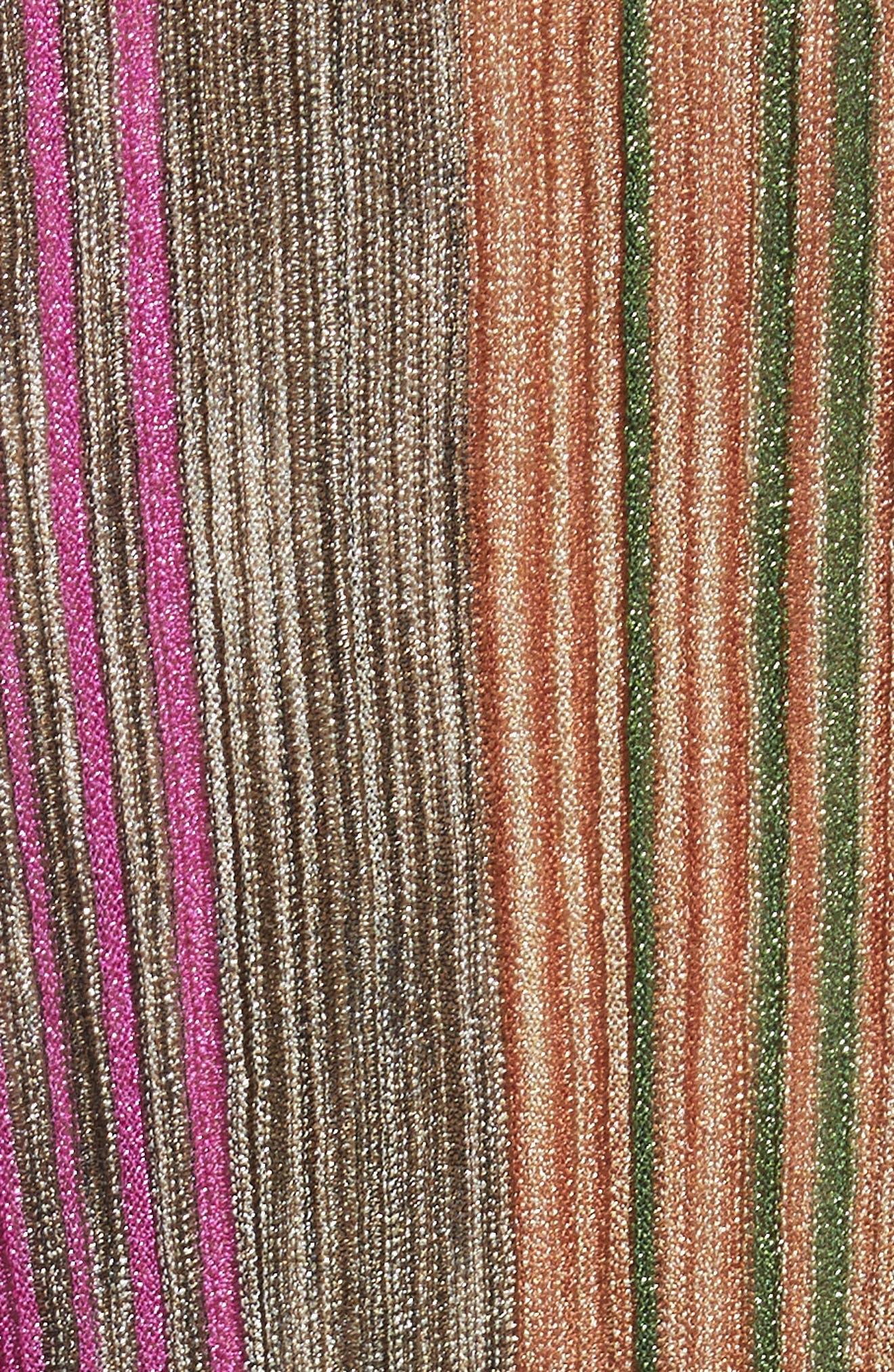 Reversible Metallic Stripe Knit Midi Dress,                             Alternate thumbnail 6, color,                             010