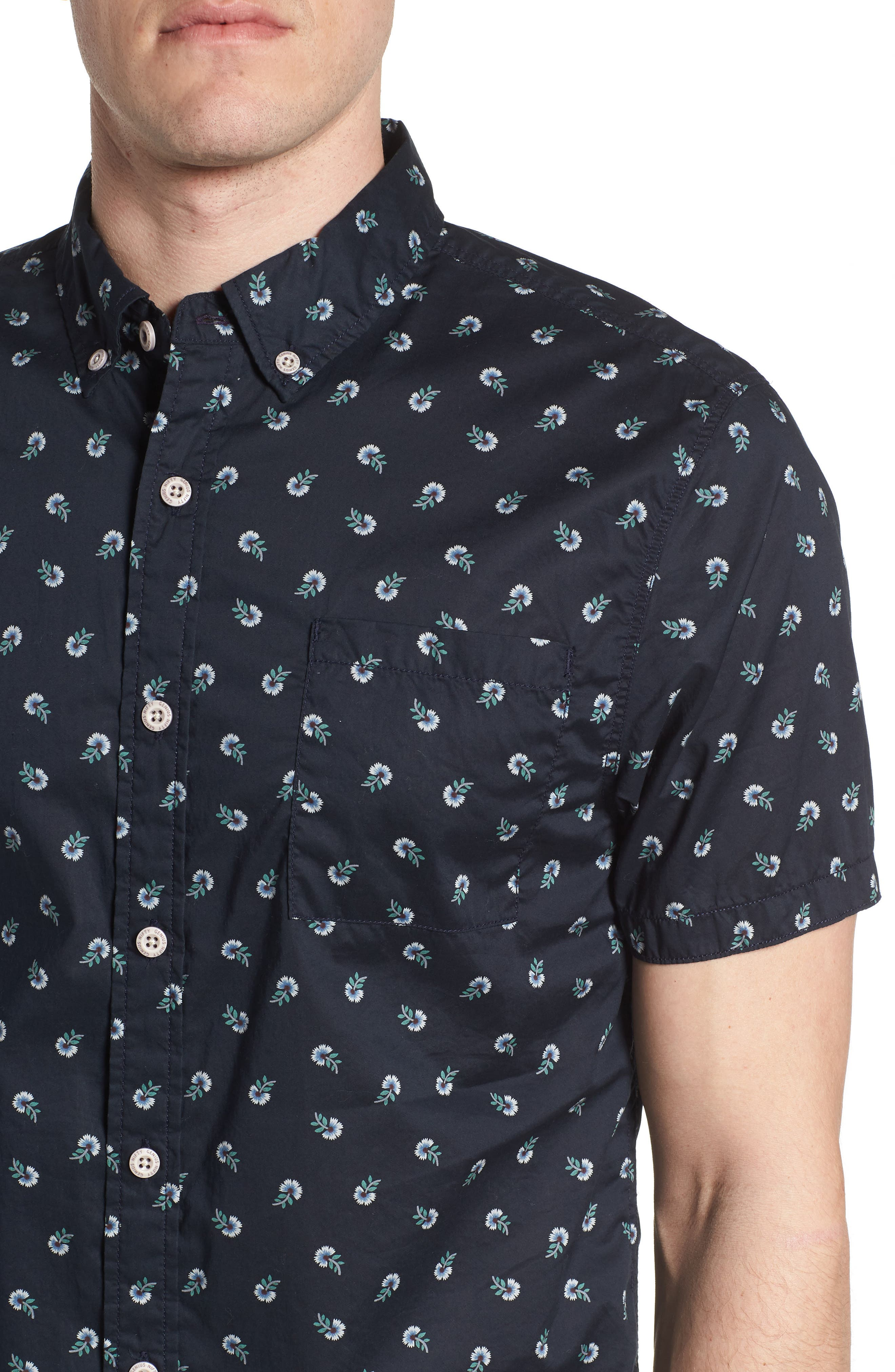 Truman Slim Fit Print Sport Shirt,                             Alternate thumbnail 4, color,                             NAVY