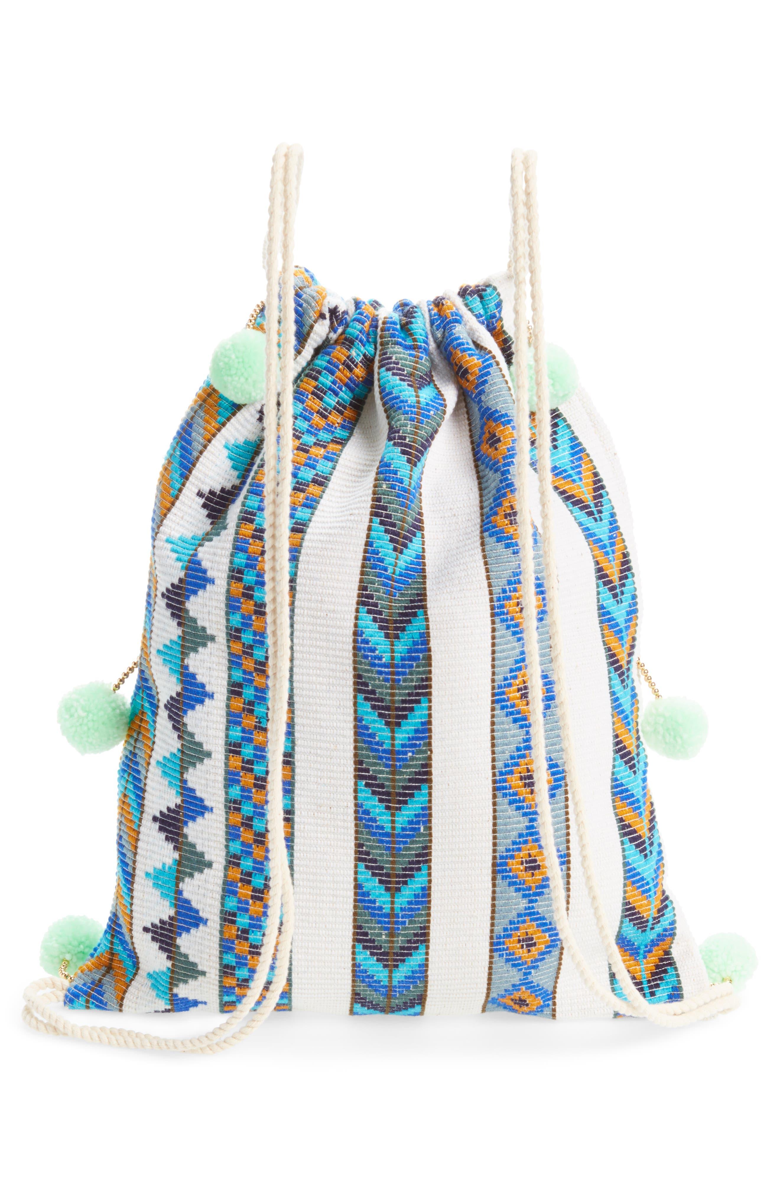 Pompom Drawstring Bag,                             Alternate thumbnail 8, color,