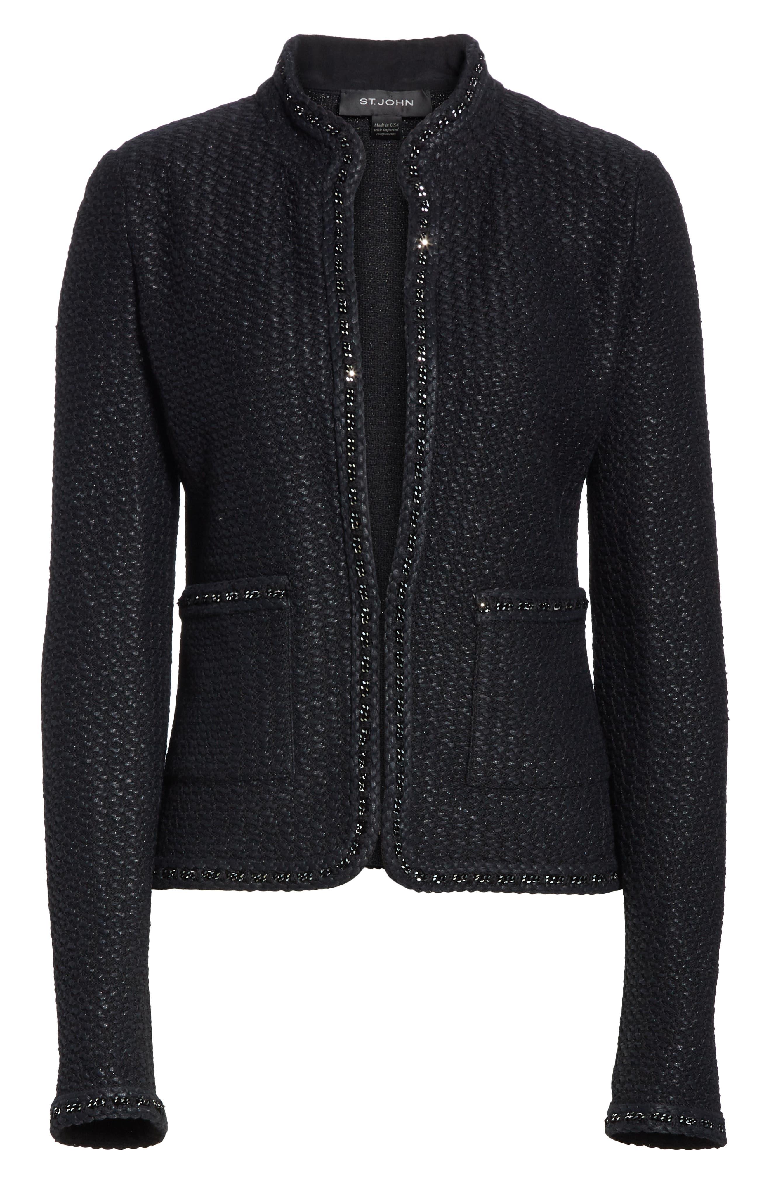 Adina Knit Short Jacket,                             Alternate thumbnail 5, color,                             CAVIAR