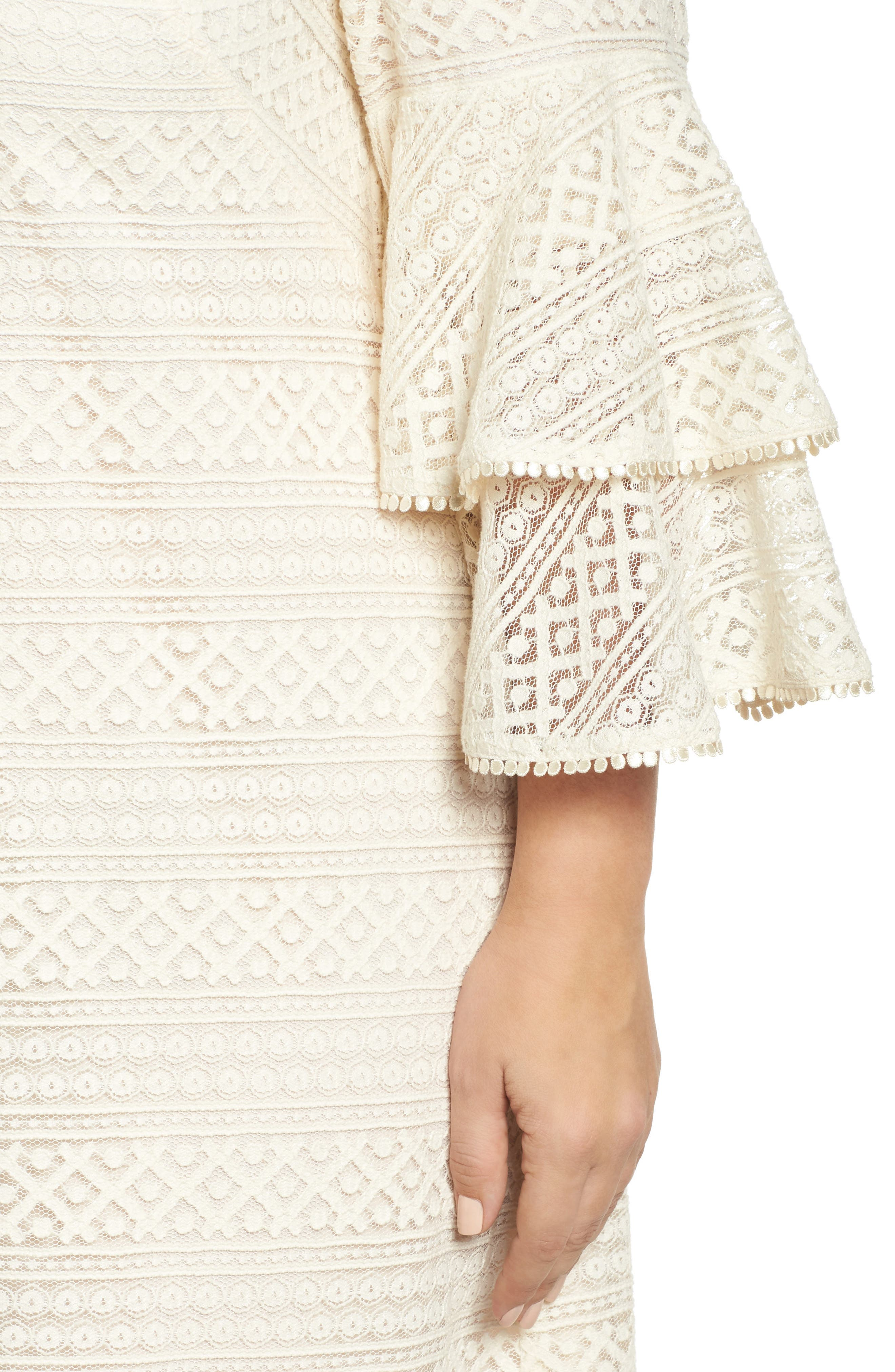 Bell Sleeve Lace Shift Dress,                             Alternate thumbnail 4, color,                             900