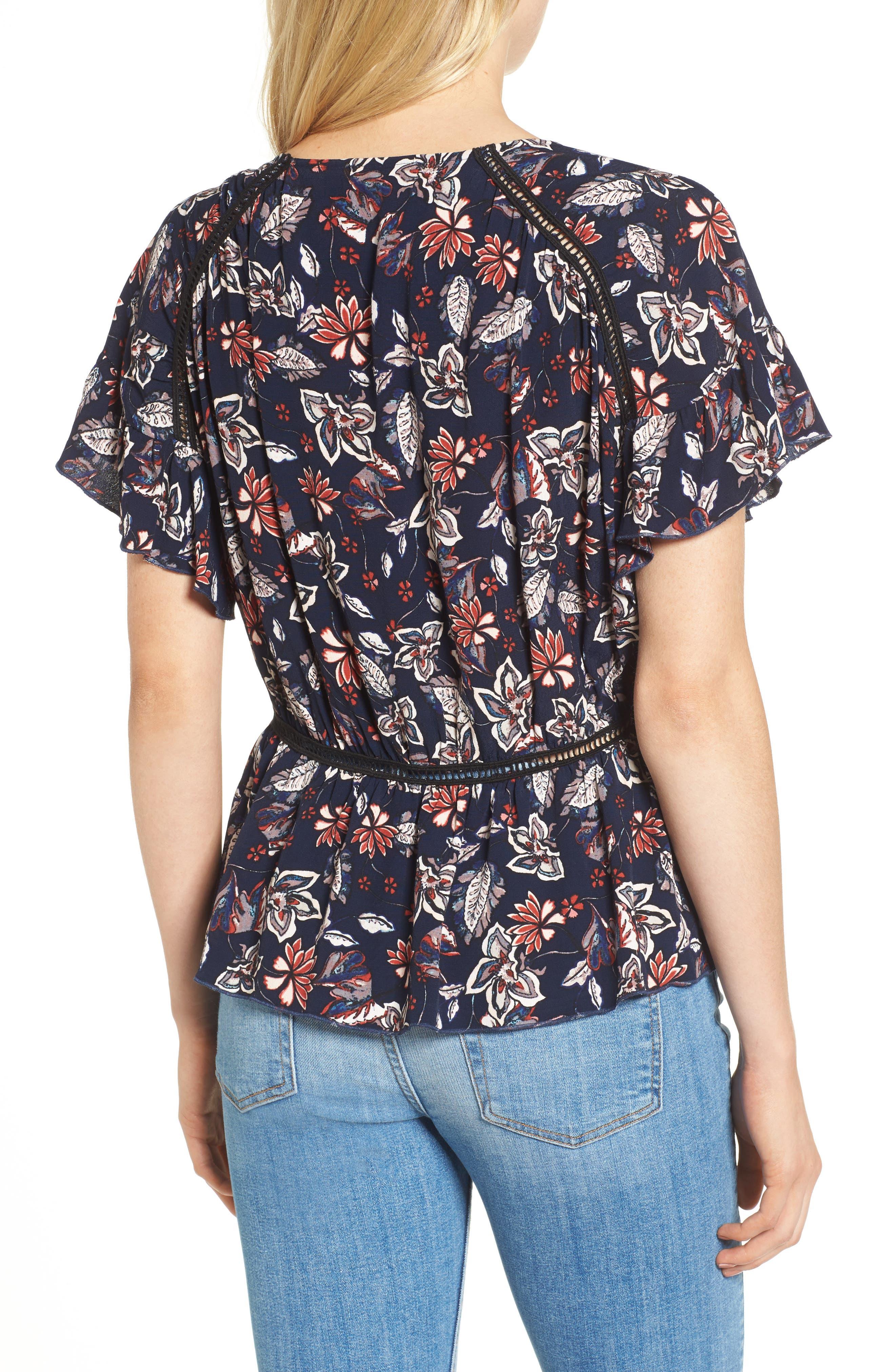 Floral Surplice Top,                             Alternate thumbnail 2, color,                             409