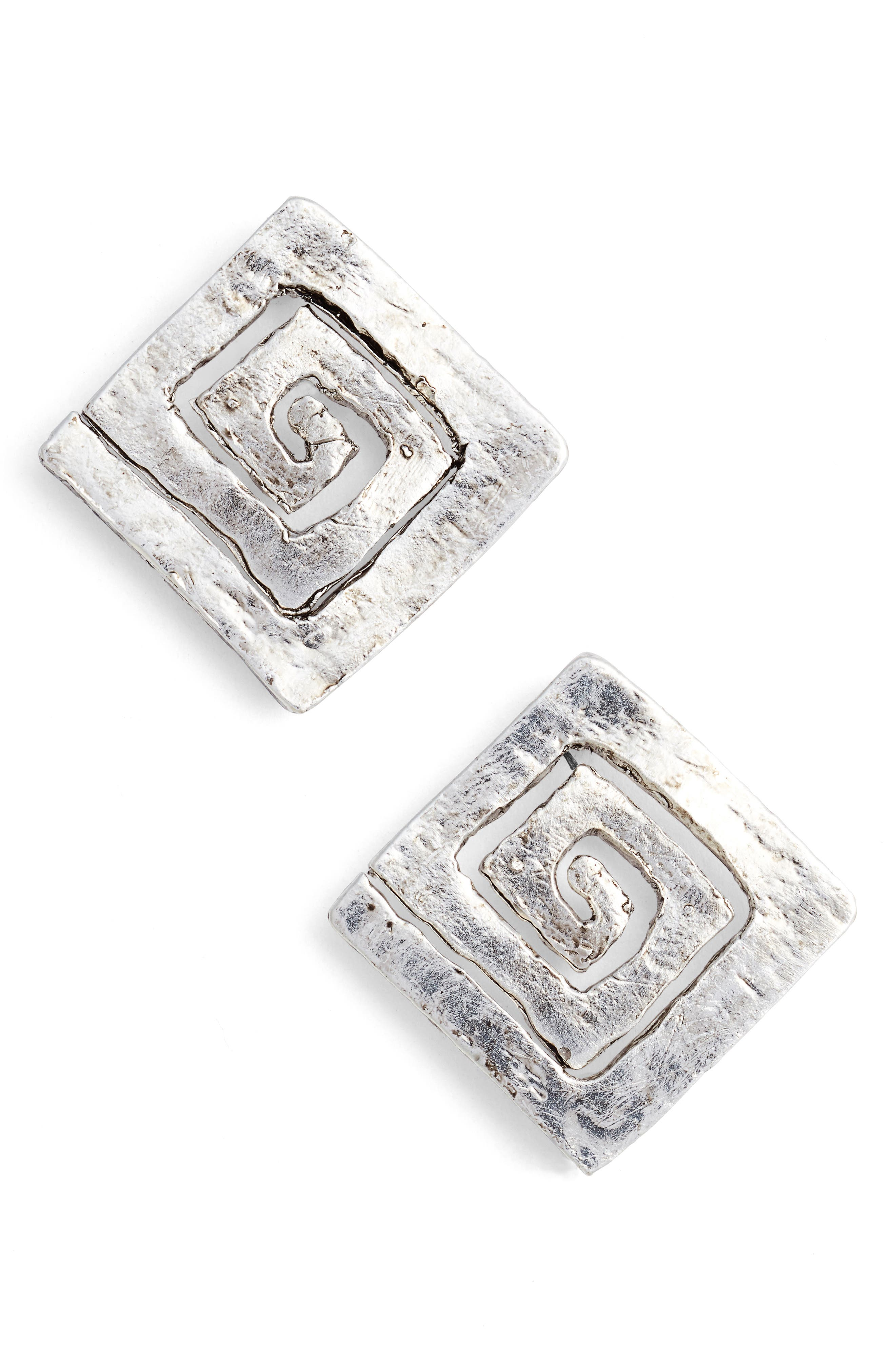 Square Stud Earrings,                         Main,                         color, SILVER