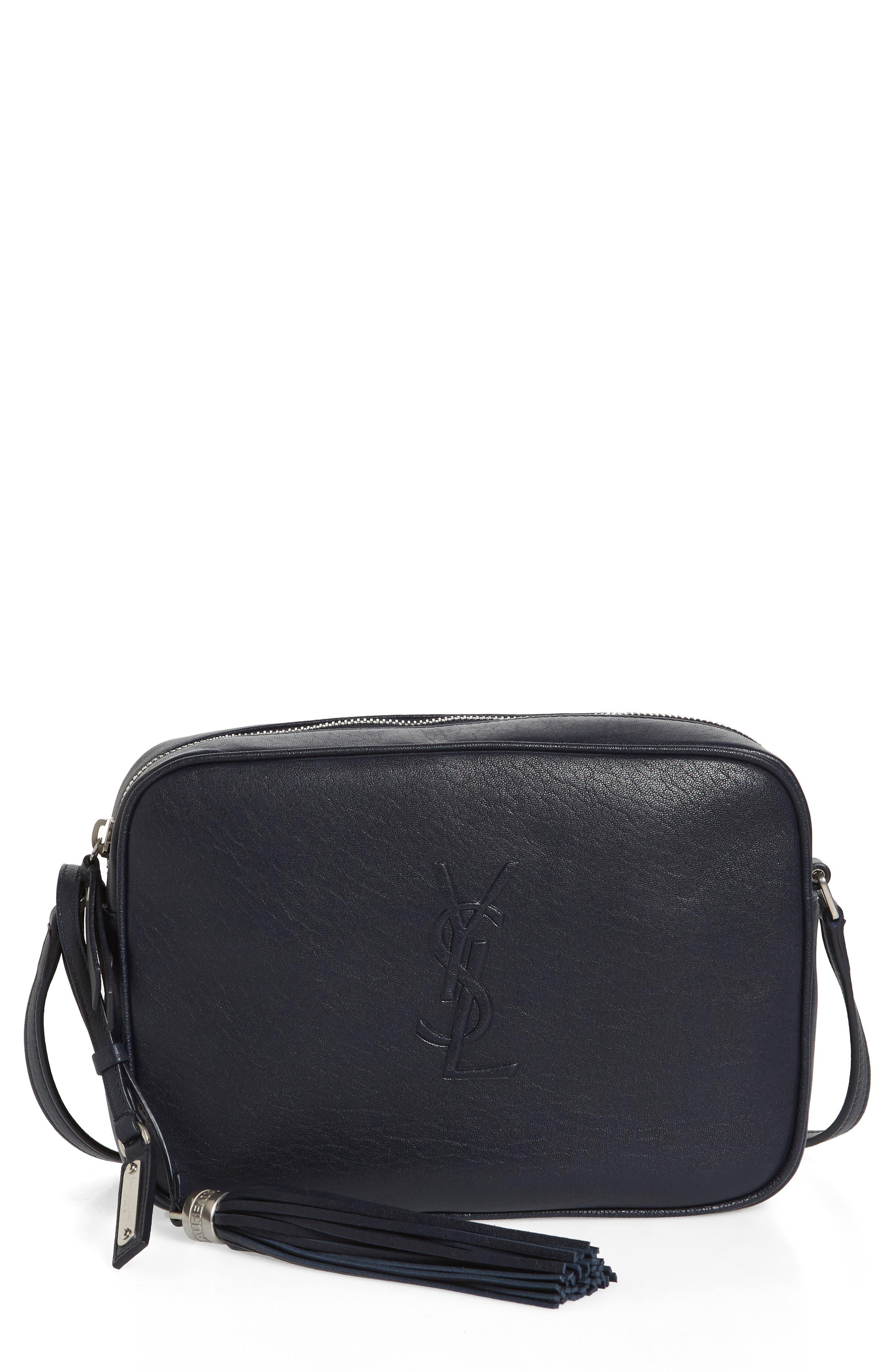 Small Mono Leather Camera Bag,                         Main,                         color, DEEP MARINE
