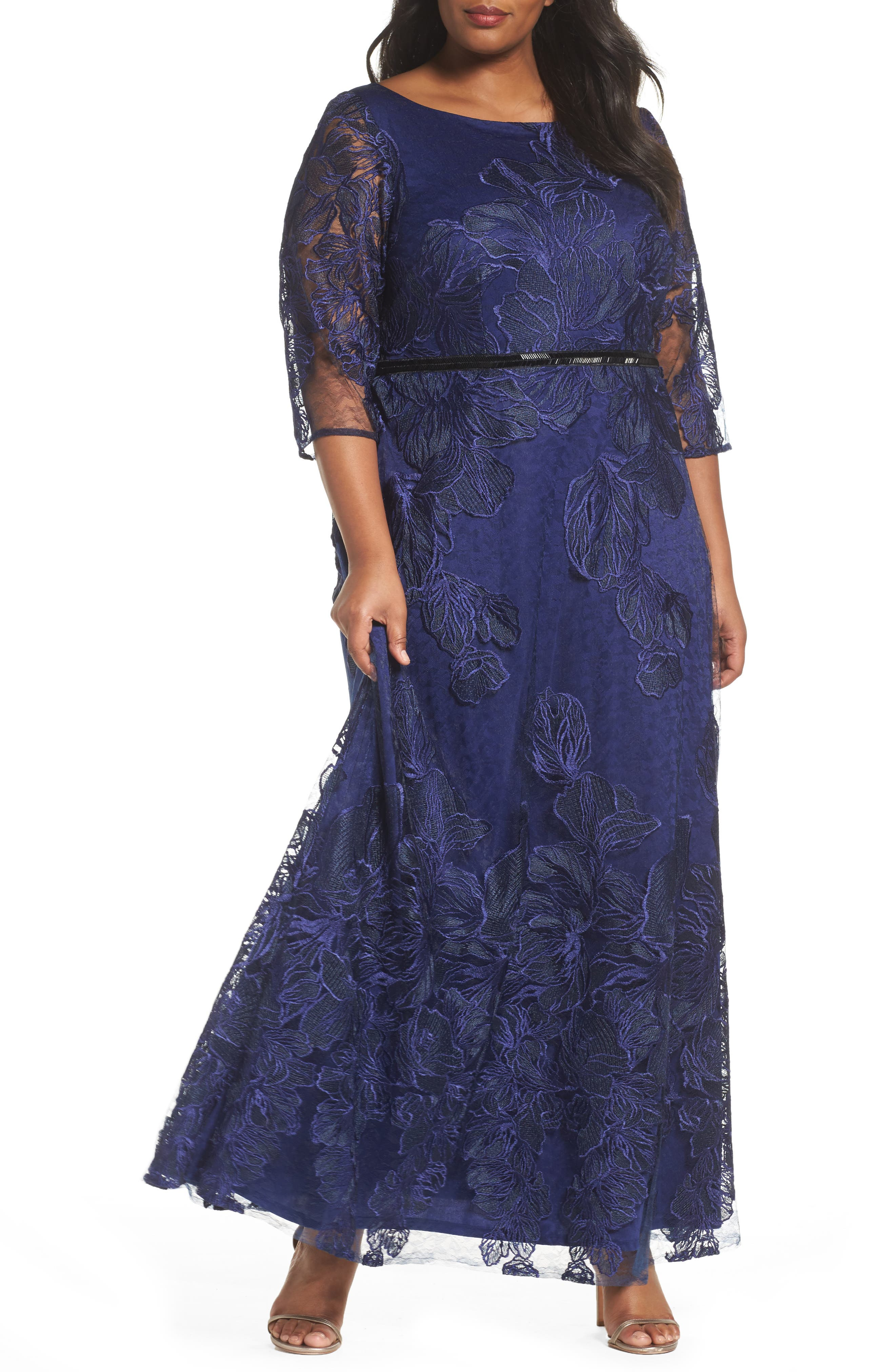 Embellished Floral Lace Gown,                             Main thumbnail 1, color,