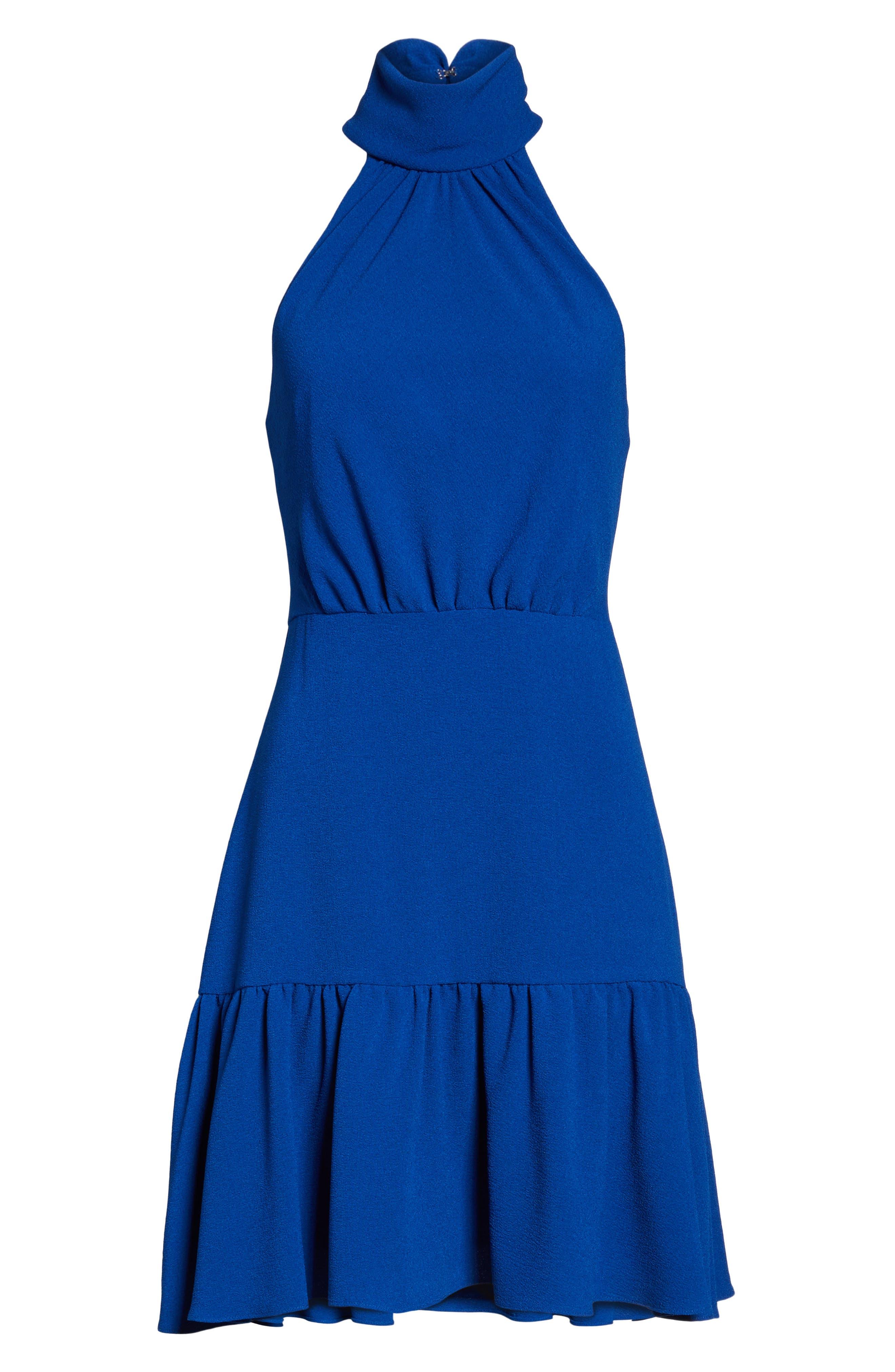 Stretch Crepe Blouson Halter Dress,                             Alternate thumbnail 6, color,                             494