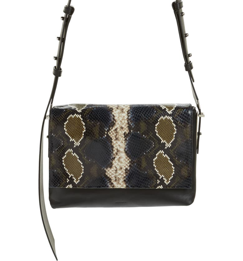 9b764385f5 ALLSAINTS. Versailles Python Print Leather Shoulder Bag - Black in ...