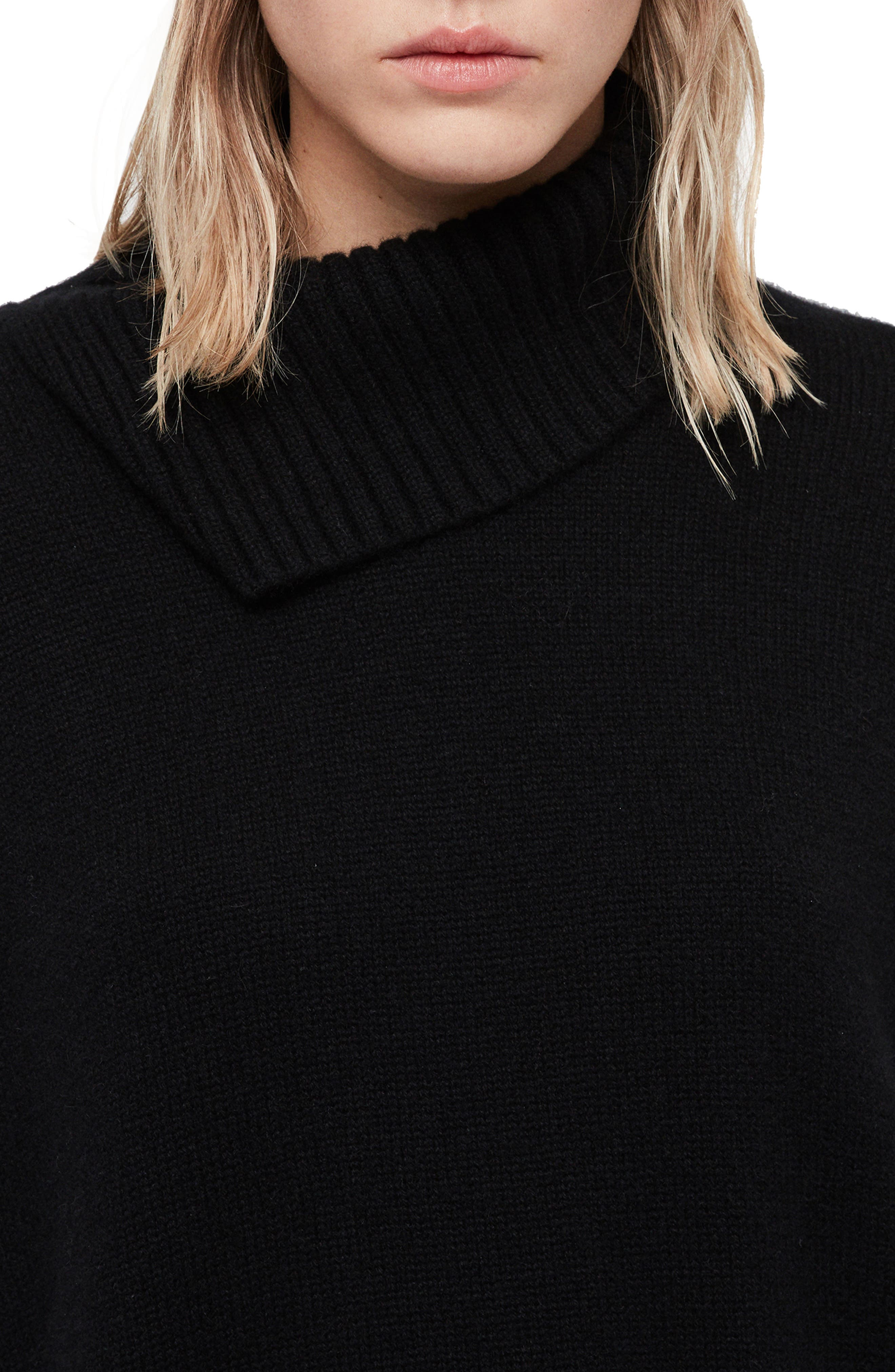 Witby Roll Neck Cashmere Sweater,                             Alternate thumbnail 4, color,                             BLACK