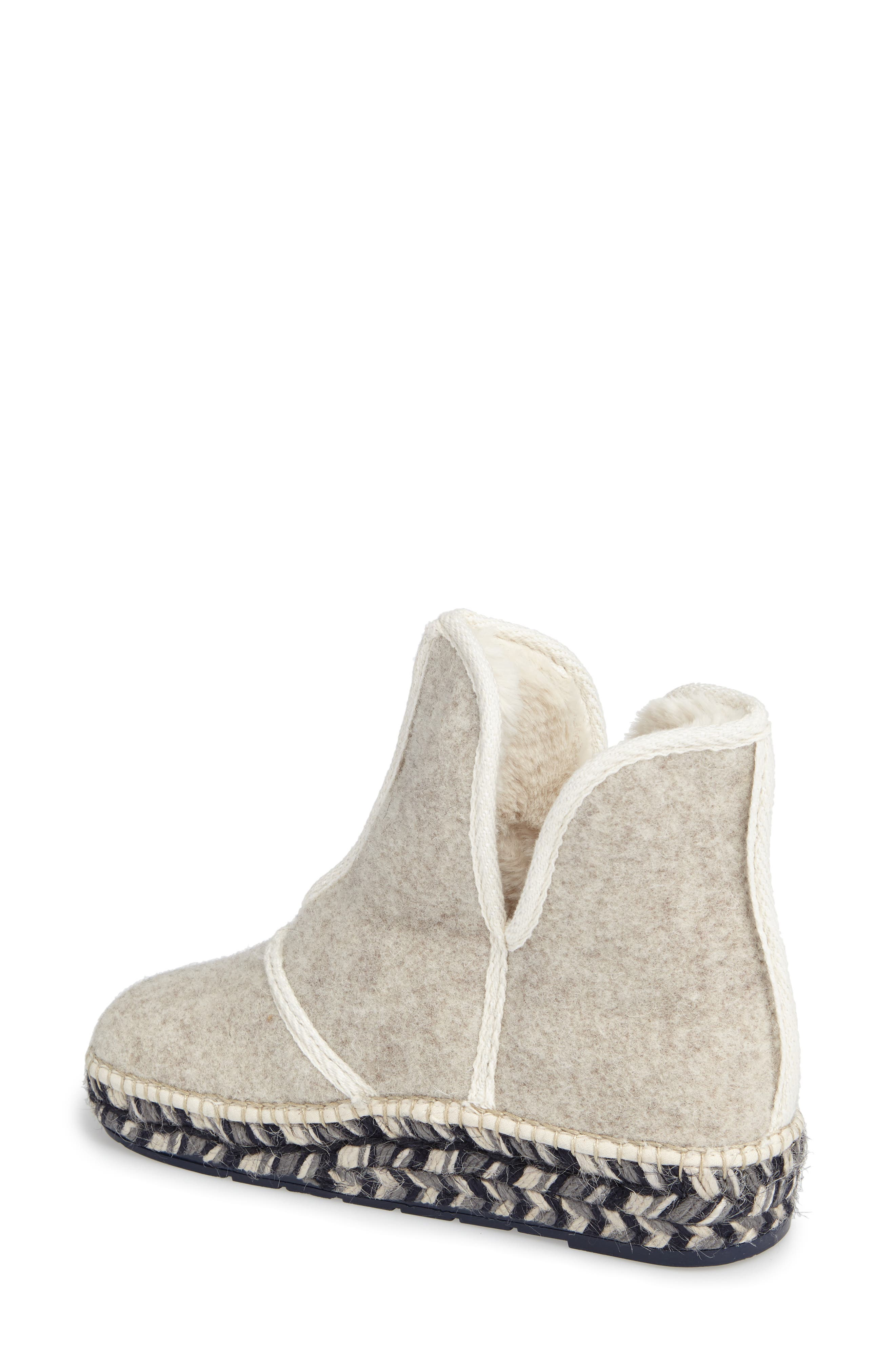 Espadrille Platform Bootie with Faux Fur Lining,                             Alternate thumbnail 2, color,                             ECRU FELT