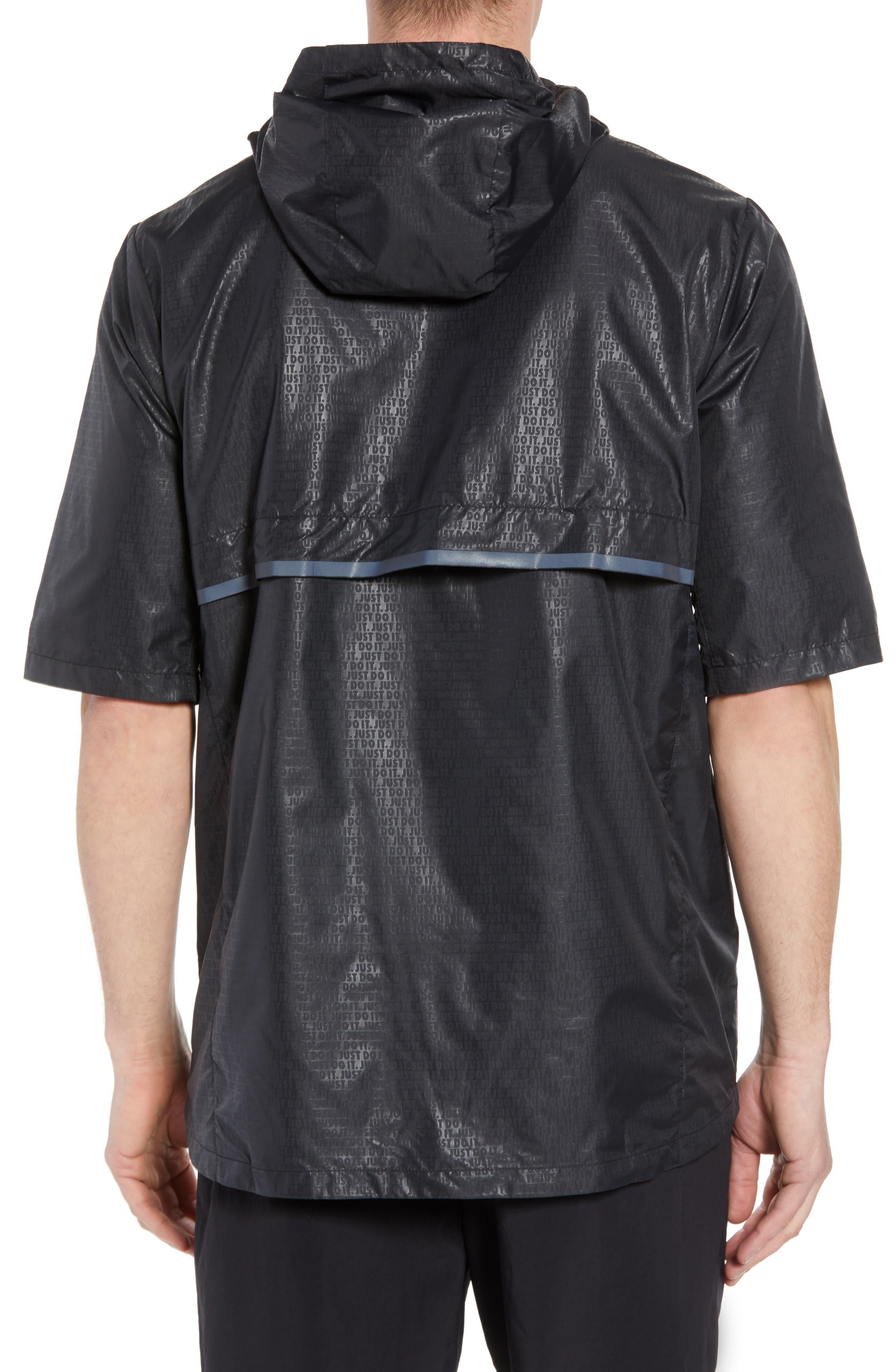 Running Shield Short Sleeve Hooded Jacket,                             Alternate thumbnail 2, color,                             BLACK